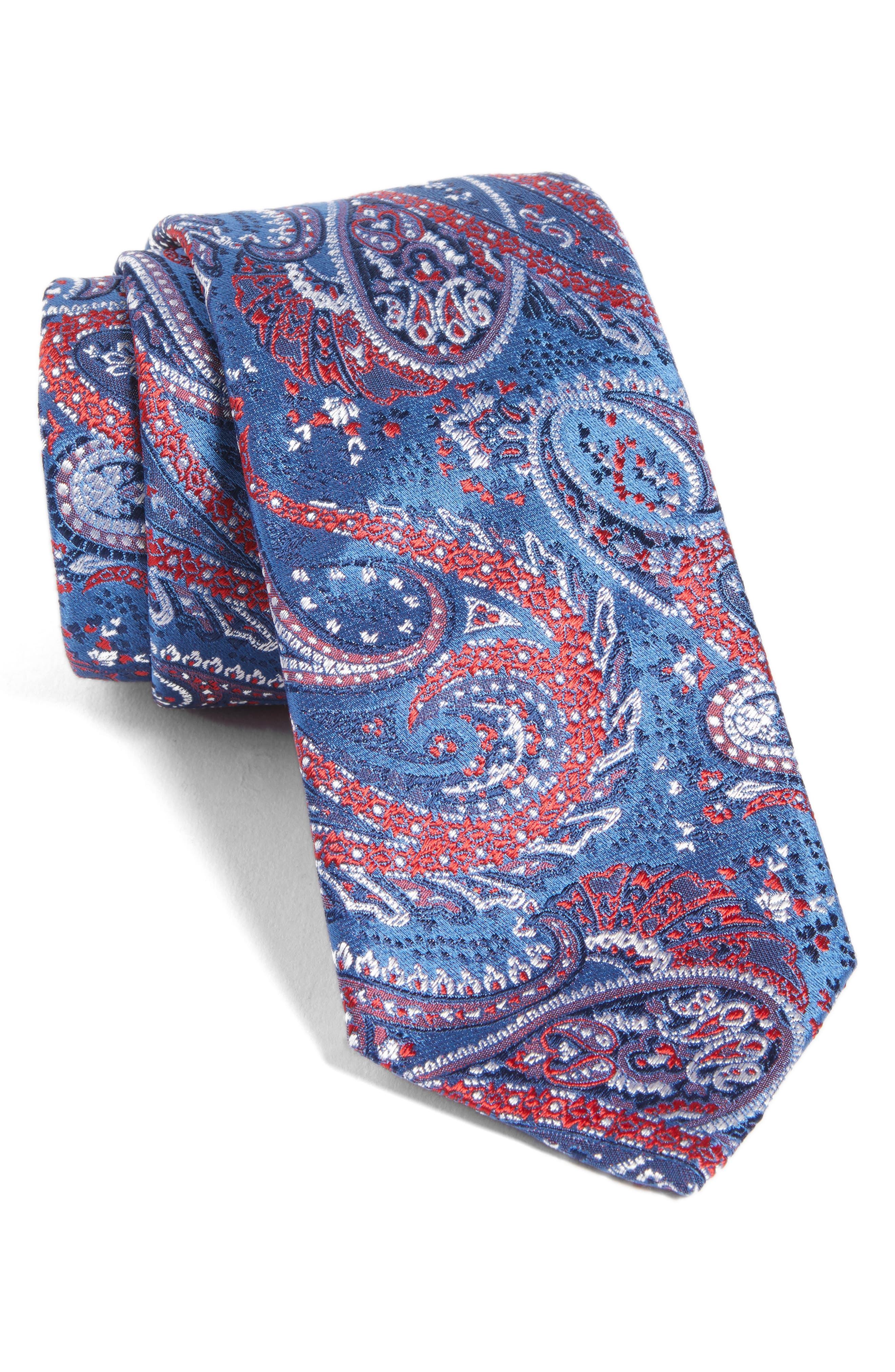 Paisley Silk Tie,                         Main,                         color, Open Blue