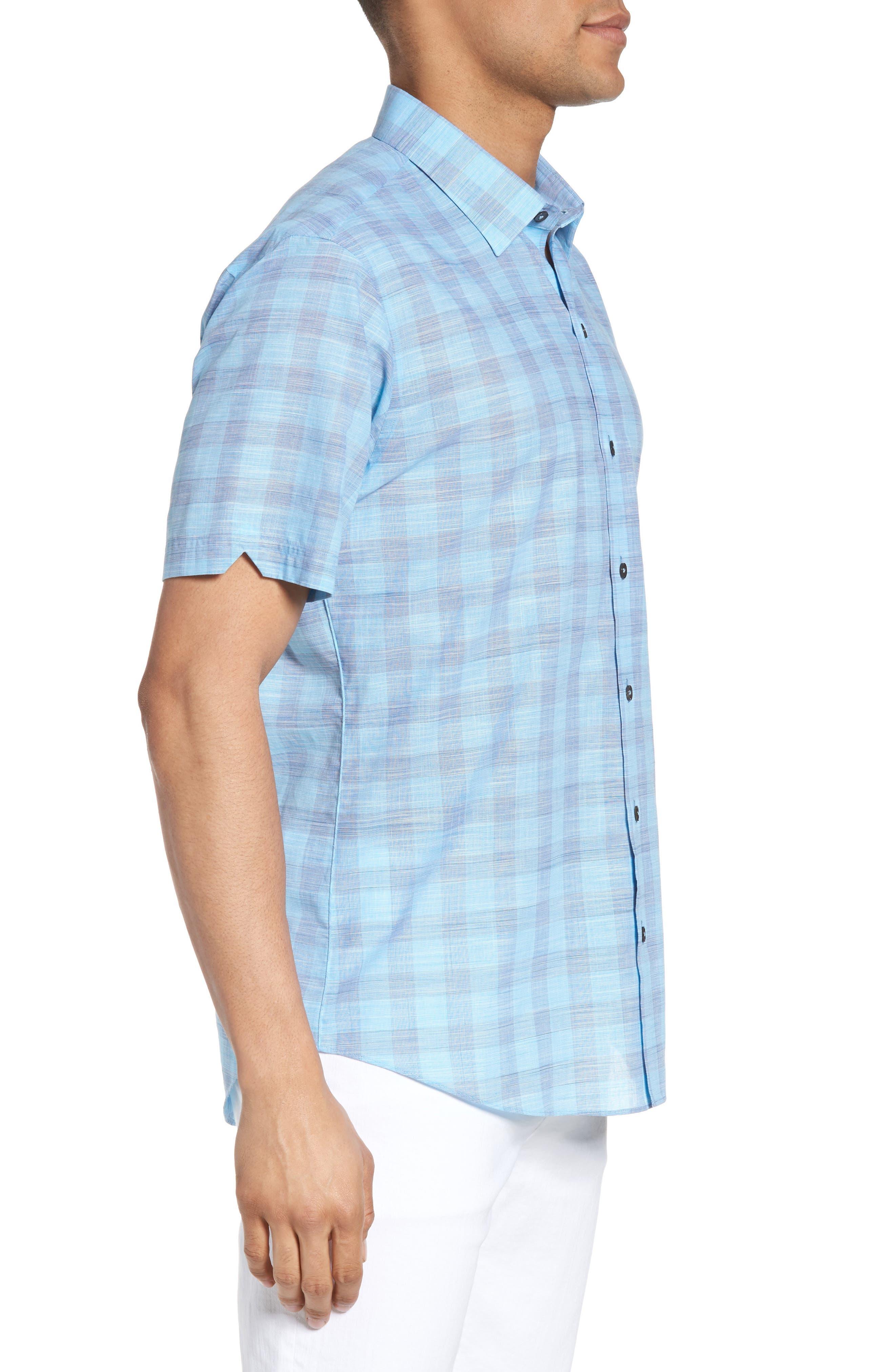 Hasanagic Trim Fit Plaid Sport Shirt,                             Alternate thumbnail 3, color,                             Turquoise