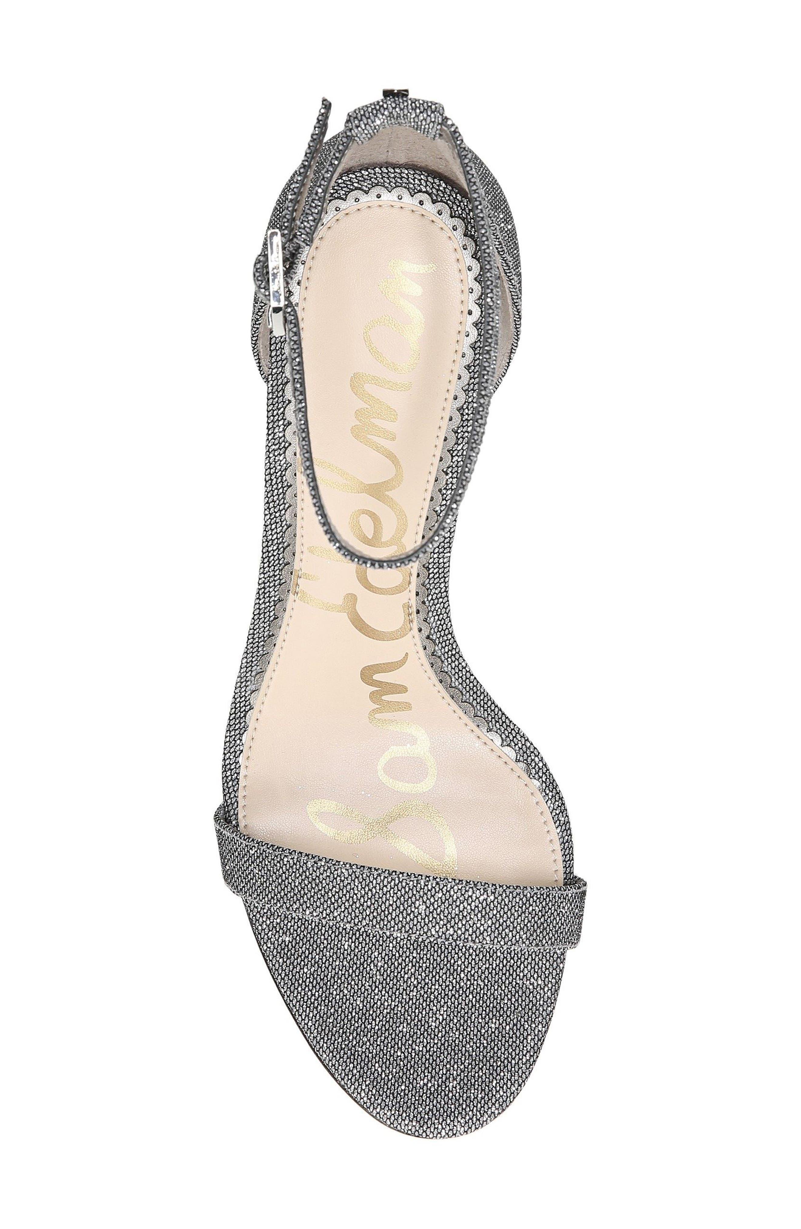 Patti Ankle Strap Sandal,                             Alternate thumbnail 5, color,                             Pewter Fabric