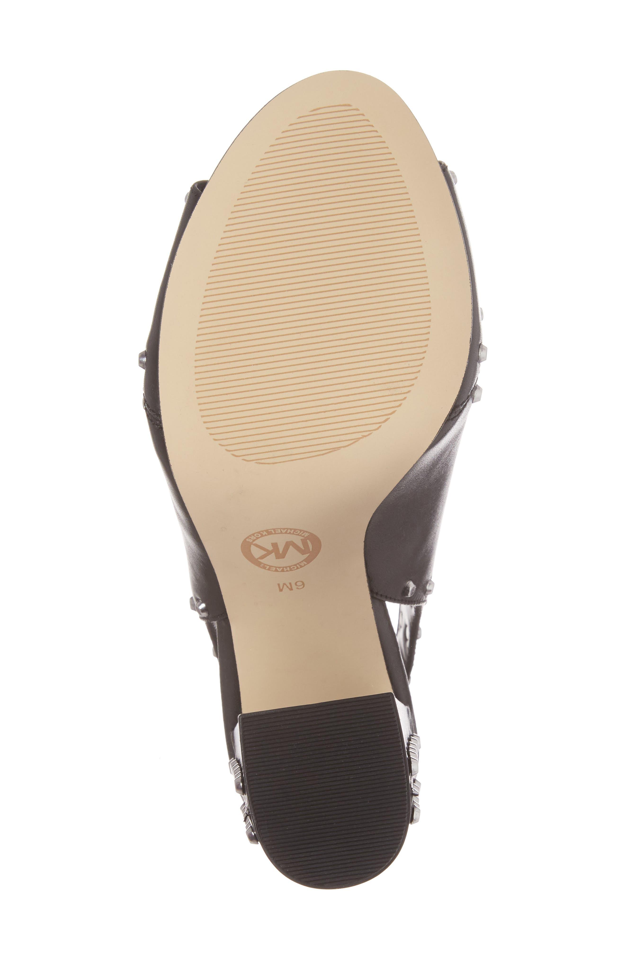 Astor Studded Sandal,                             Alternate thumbnail 6, color,                             Black Leather