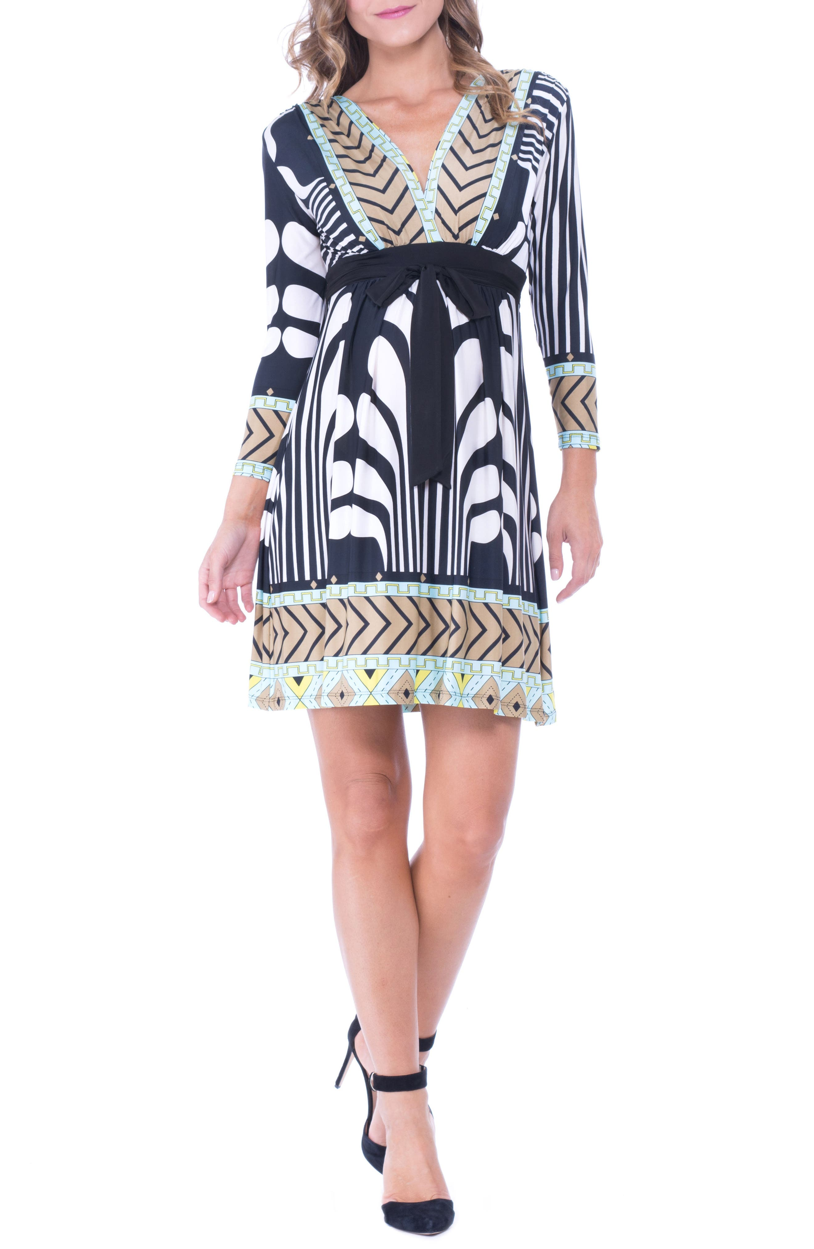 Olian Graphic Print Maternity Dress