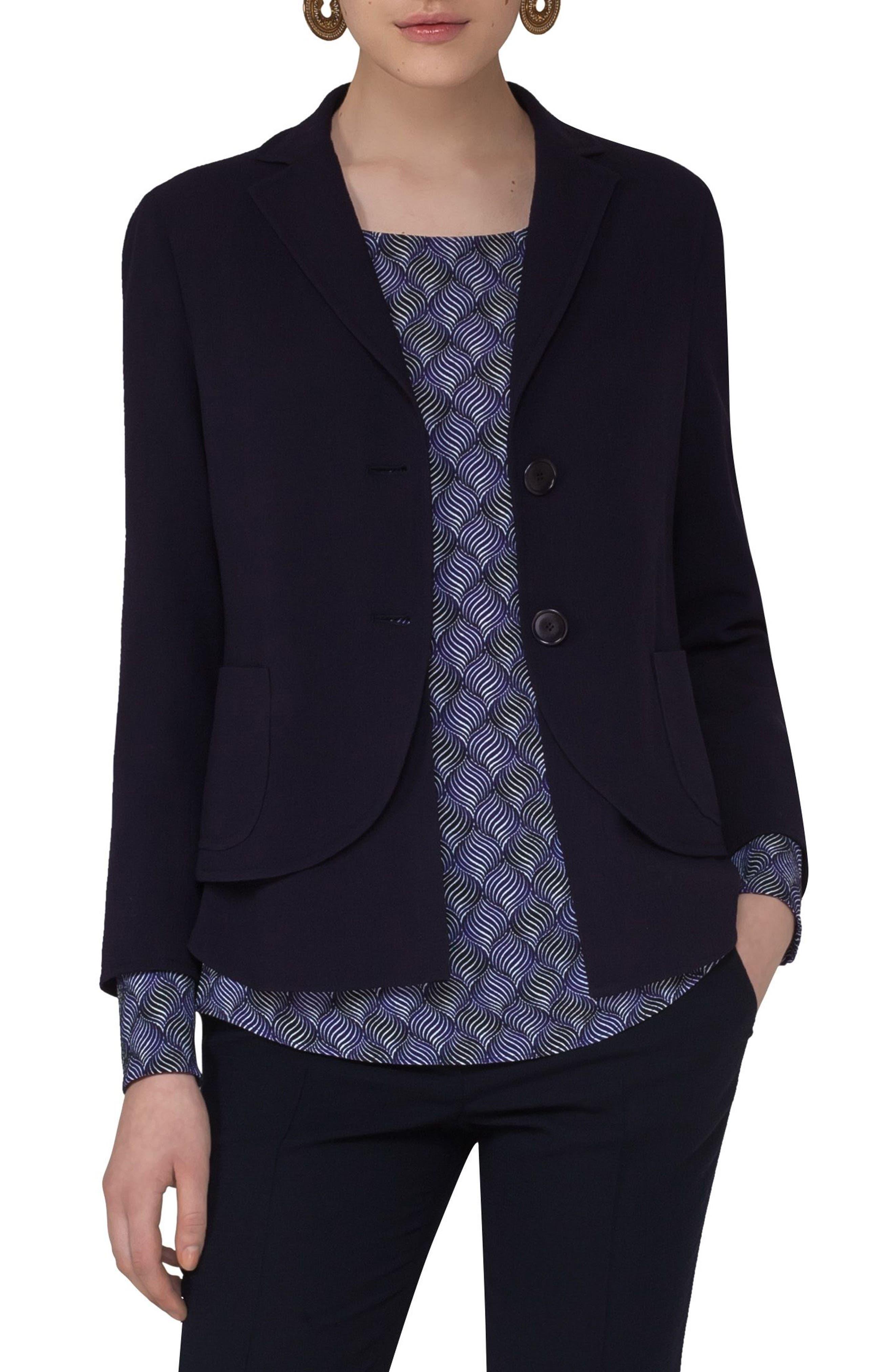 Wool Blend Seersucker Blazer,                         Main,                         color, Navy