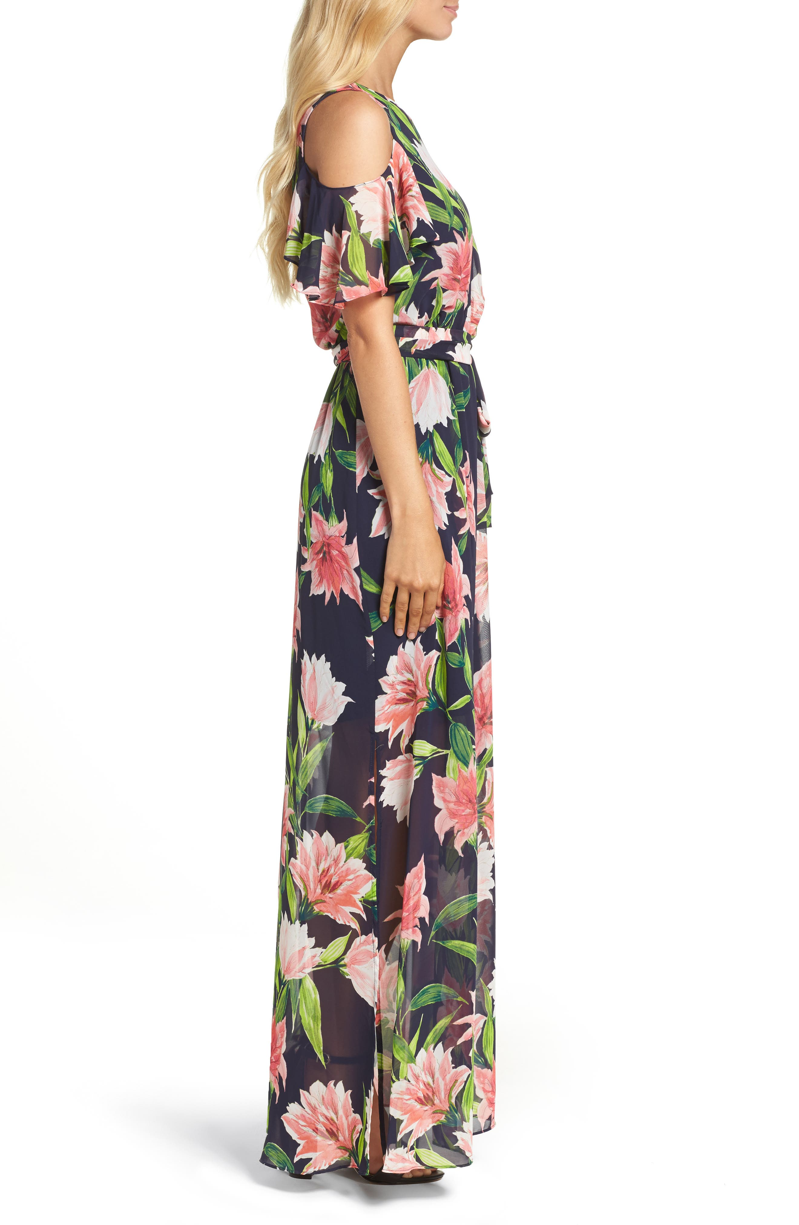 Floral Cold-Shoulder Maxi Dress,                             Alternate thumbnail 3, color,                             Navy