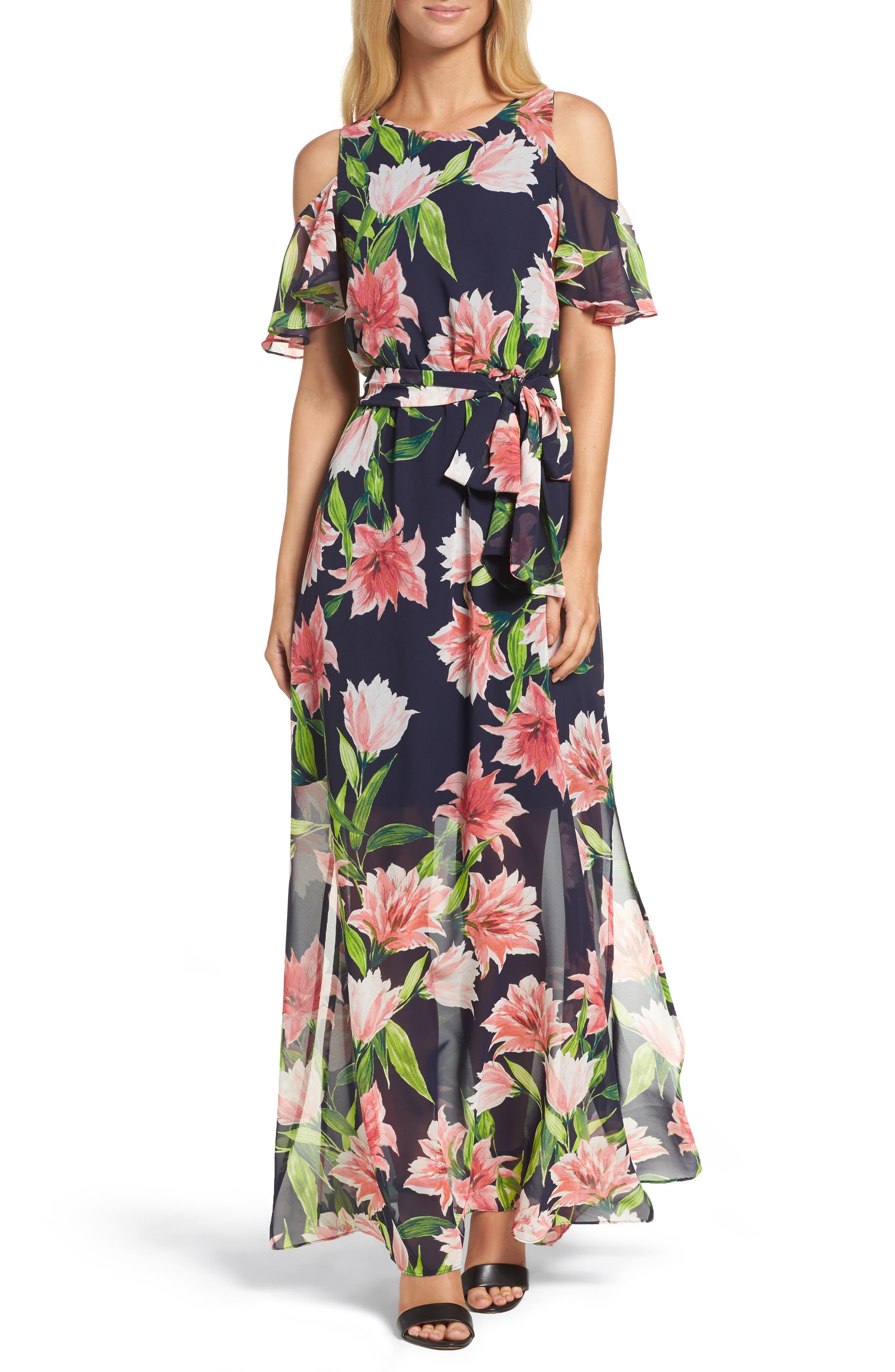 Floral Cold-Shoulder Maxi Dress,                         Main,                         color, Navy
