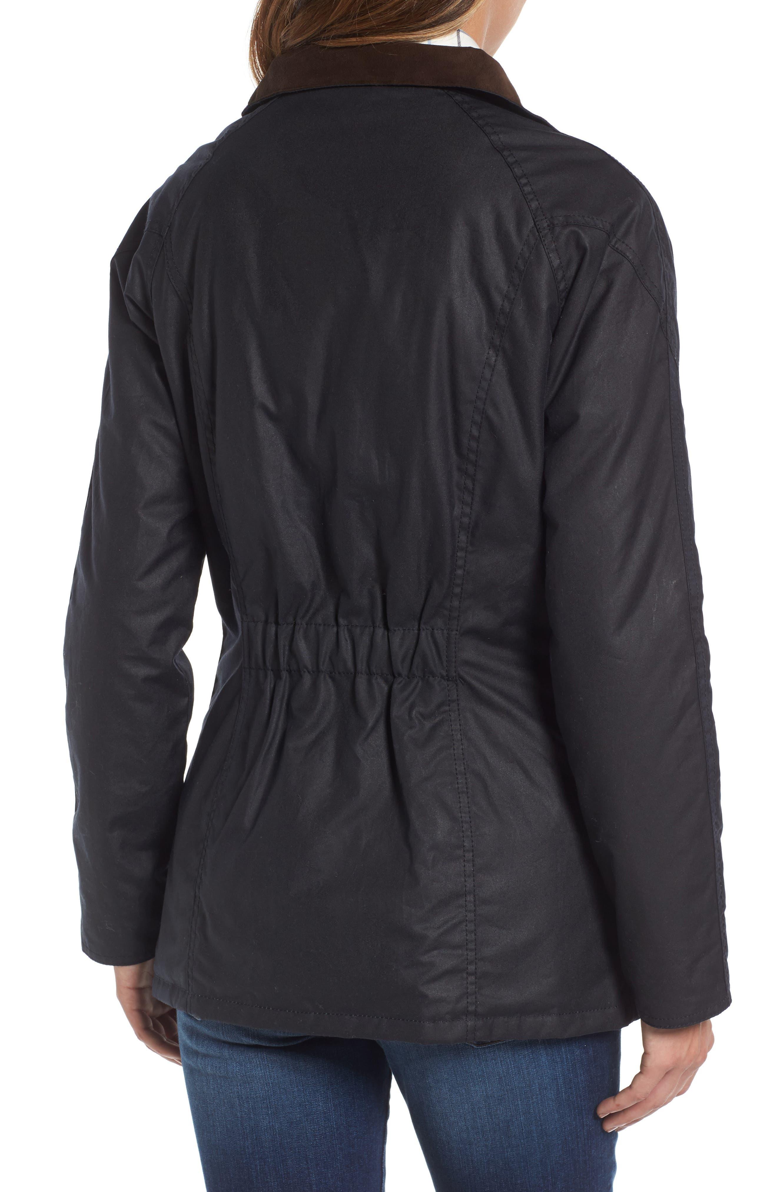 Barrowdale Waxed Cotton Coat,                             Alternate thumbnail 3, color,                             Navy