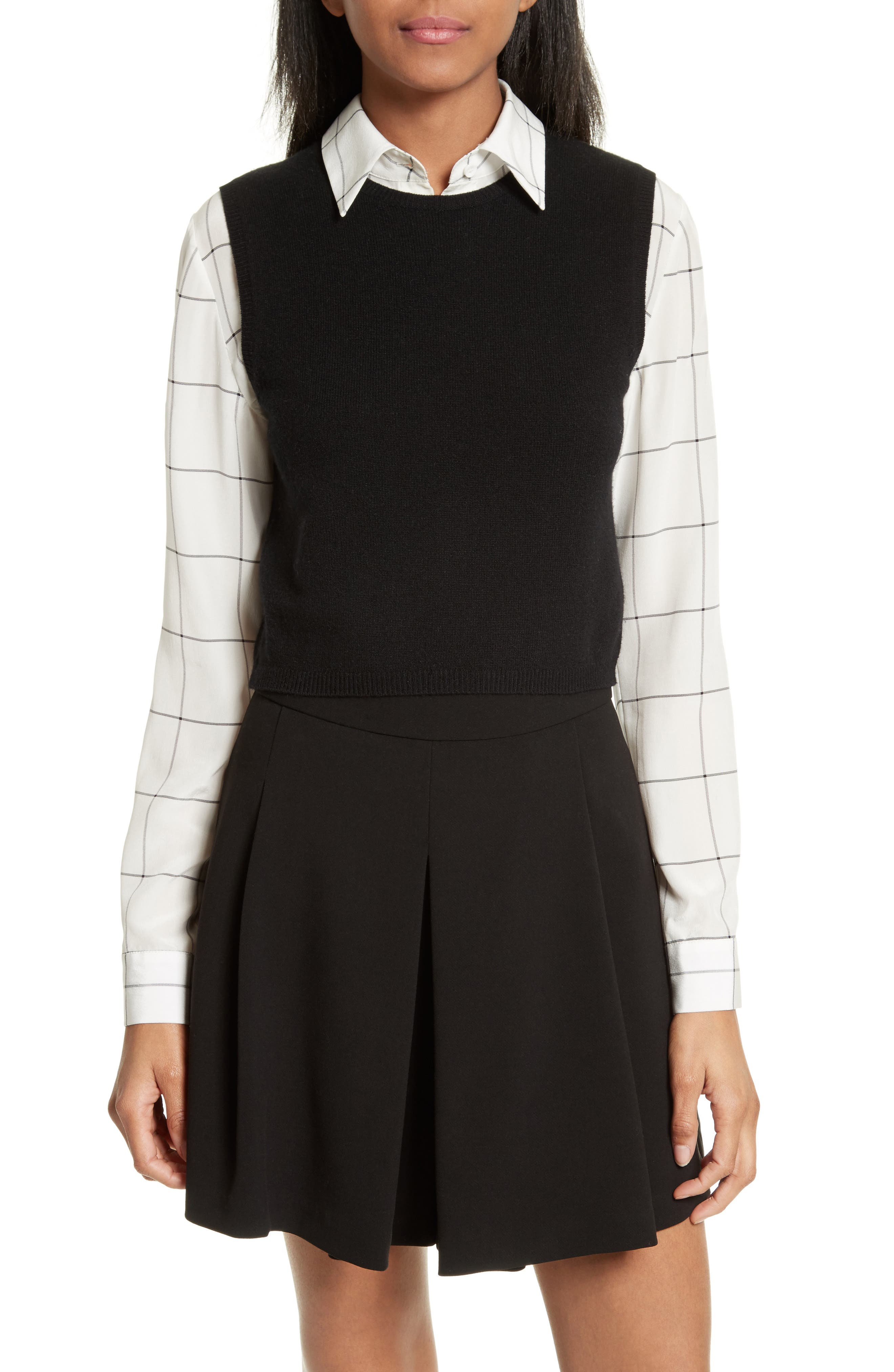 Lucinda Crop Sweater Vest & Shirt,                         Main,                         color, Black/ White Check