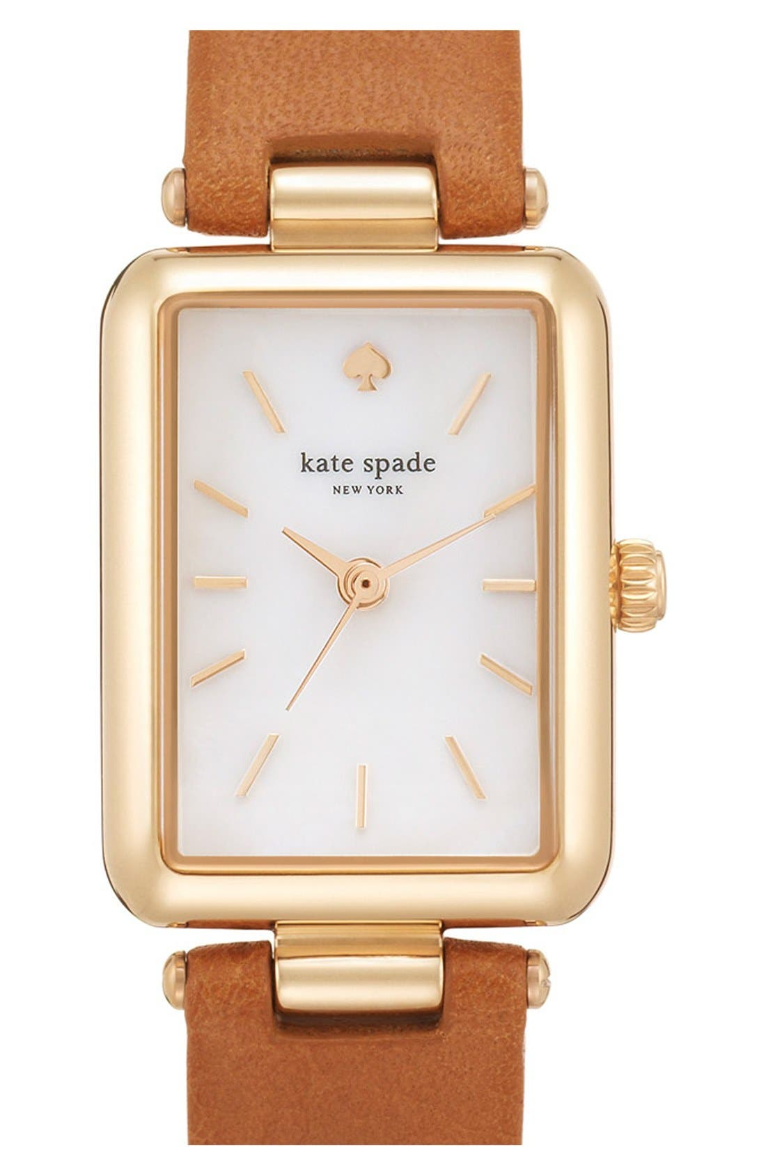Alternate Image 1 Selected - kate spade new york 'paley' rectangular leather strap watch, 21mm x 28mm