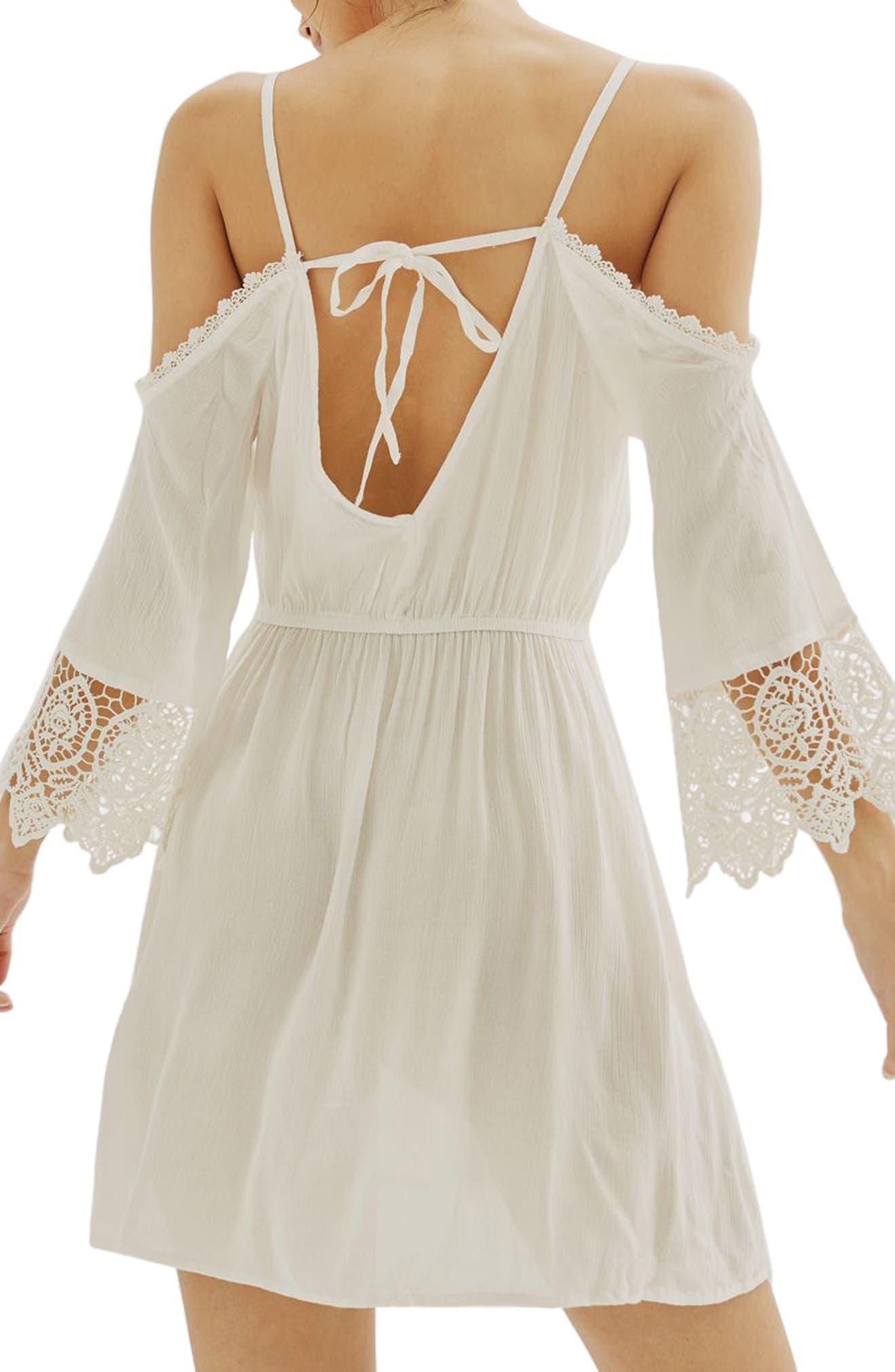 Alternate Image 2  - Topshop Lace Trim Cold Shoulder Dress