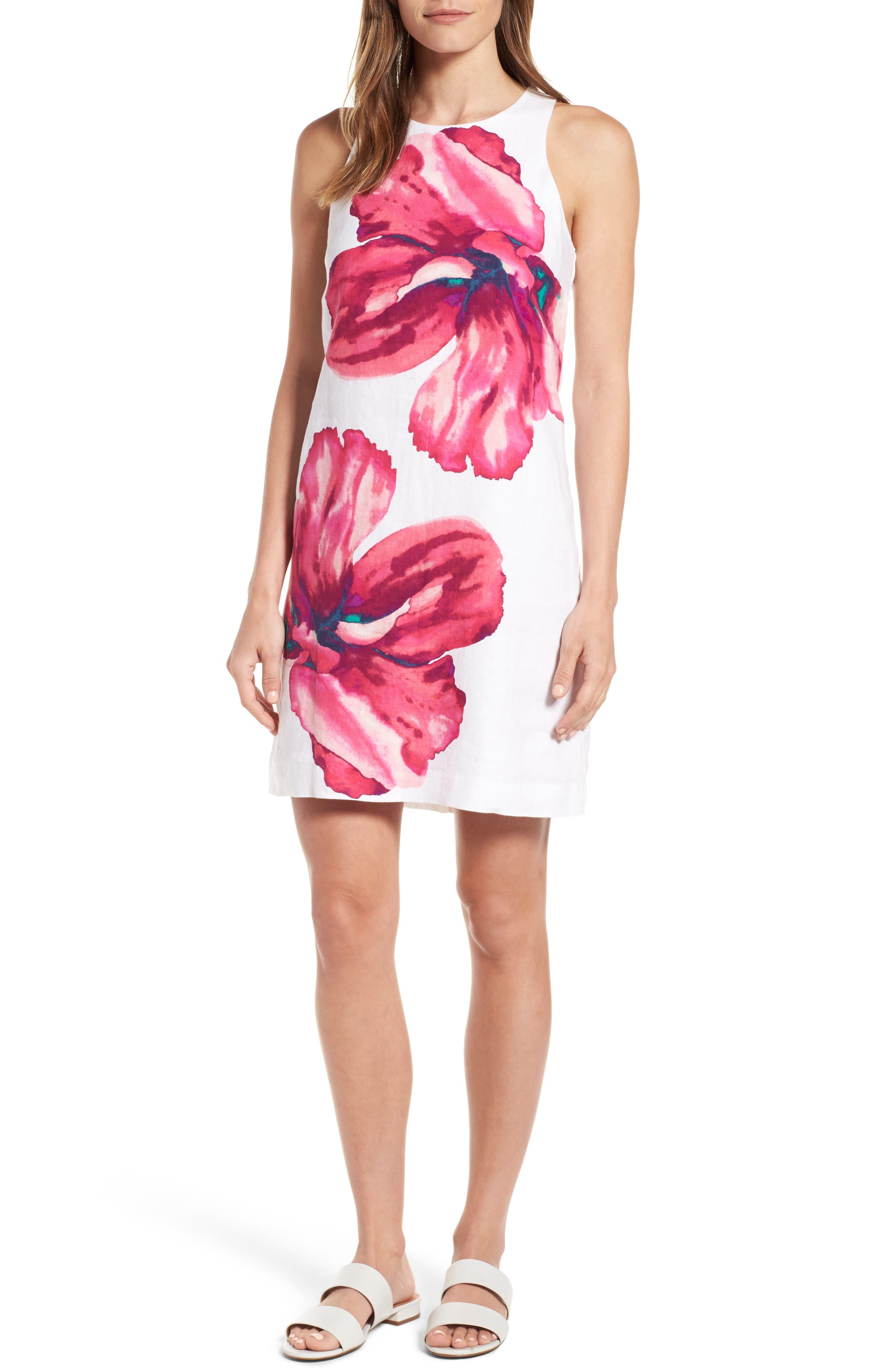 Kavala Blossoms Linen Shift Dress,                         Main,                         color, White