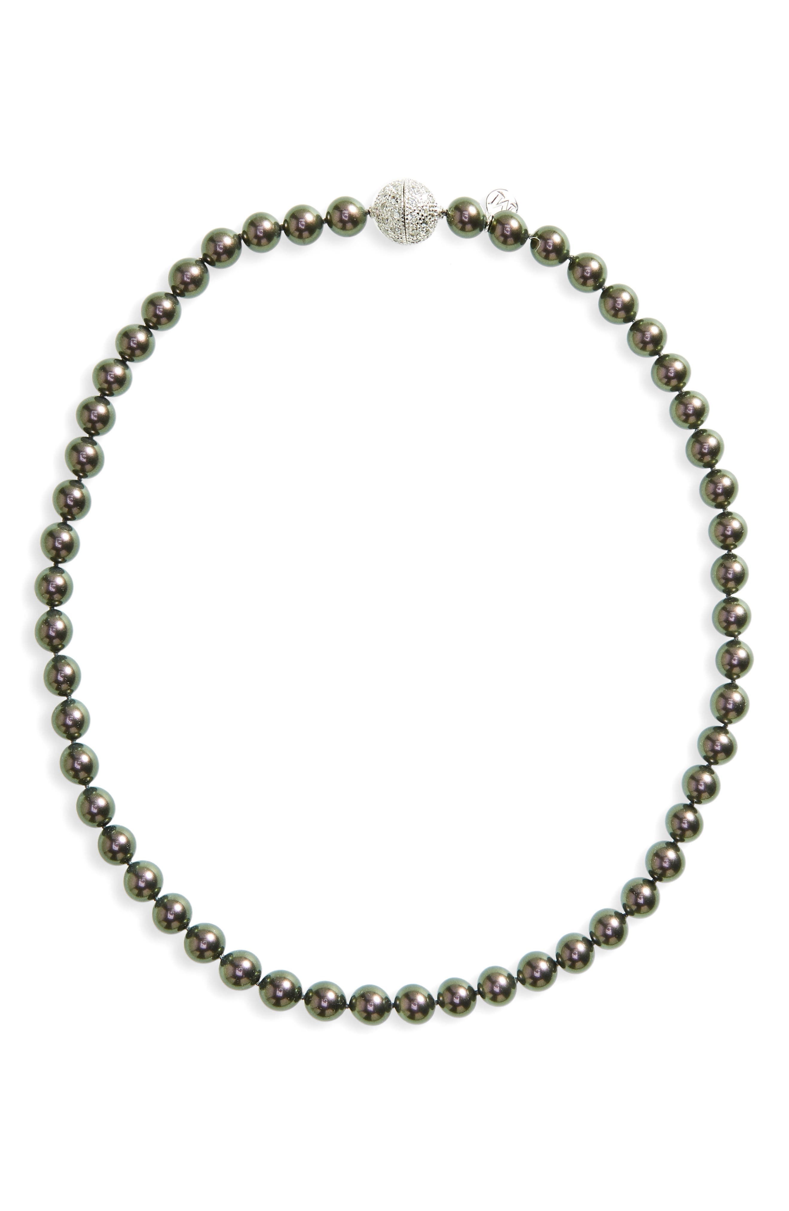 8mm Round Simulated Pearl Strand Necklace,                             Main thumbnail 1, color,                             Grey