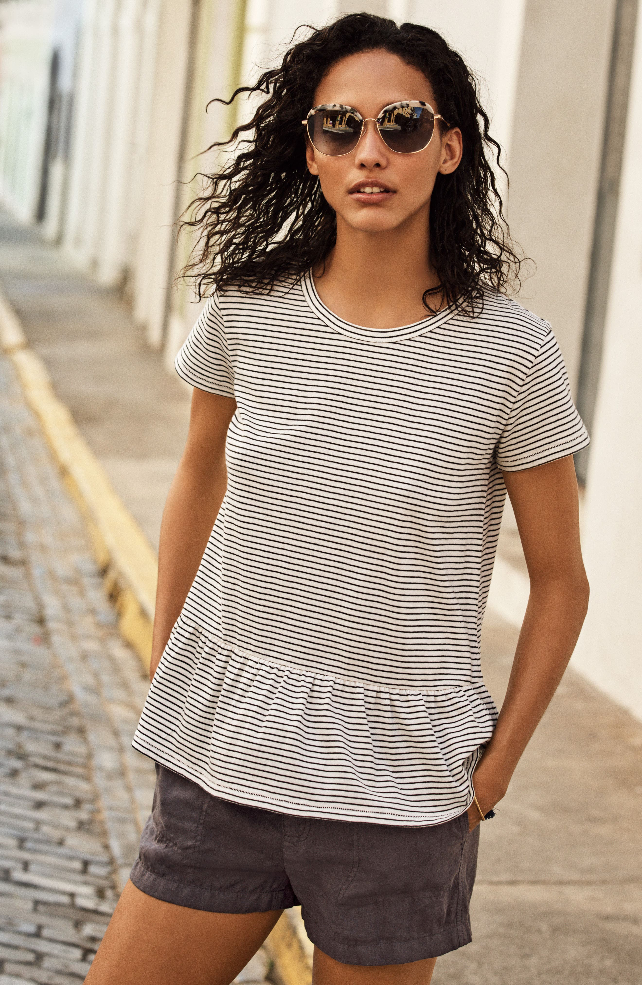 Alternate Image 7  - Caslon® Peplum Tee (Regular & Petite)