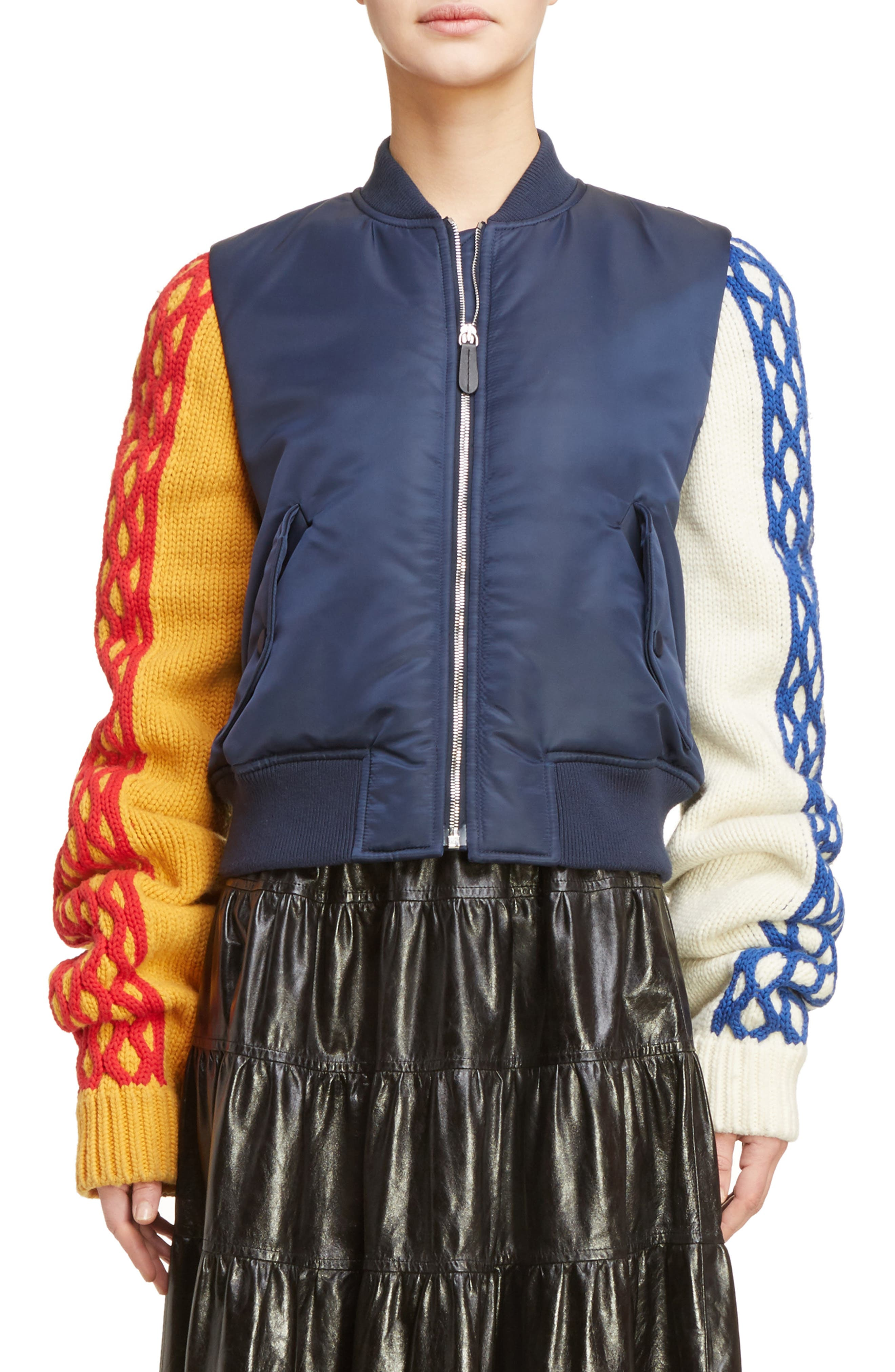 J.W.ANDERSON Cable Sleeve Bomber Jacket,                         Main,                         color, Navy