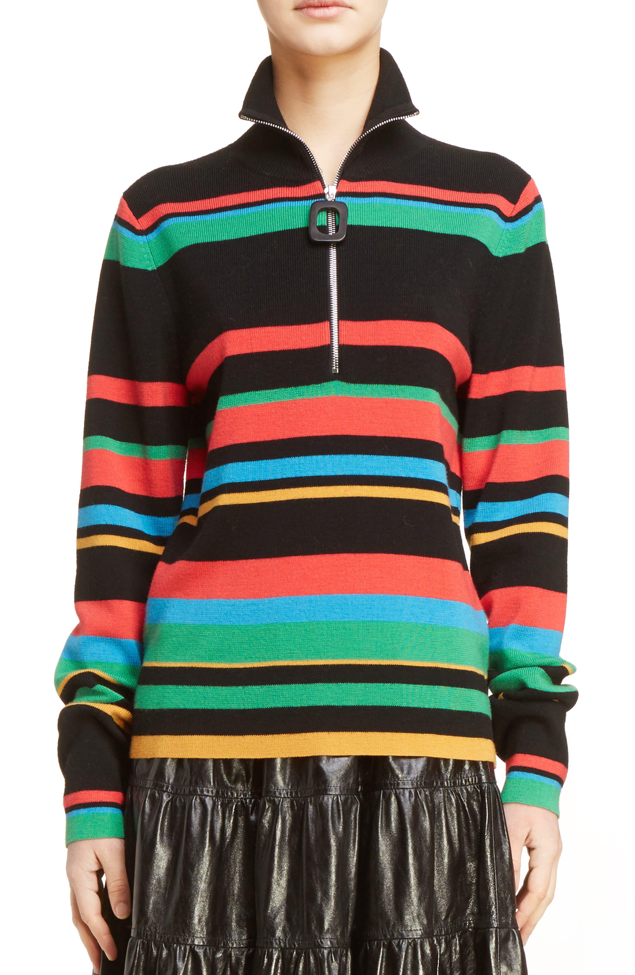 J.W.ANDERSON Stripe Half Zip Stretch Merino Wool Sweater