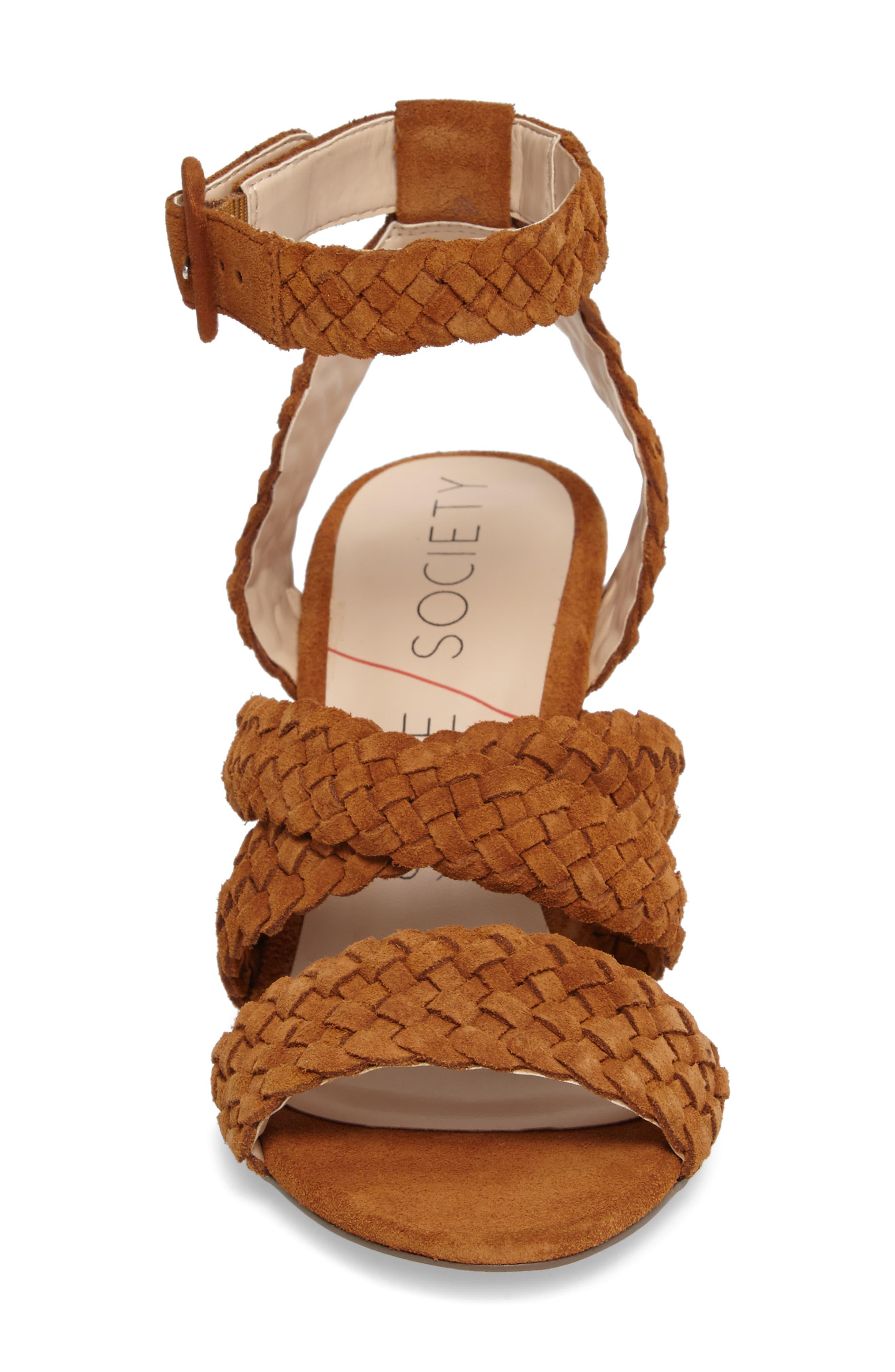 Evelina Block Heel Sandal,                             Alternate thumbnail 4, color,                             Chestnut