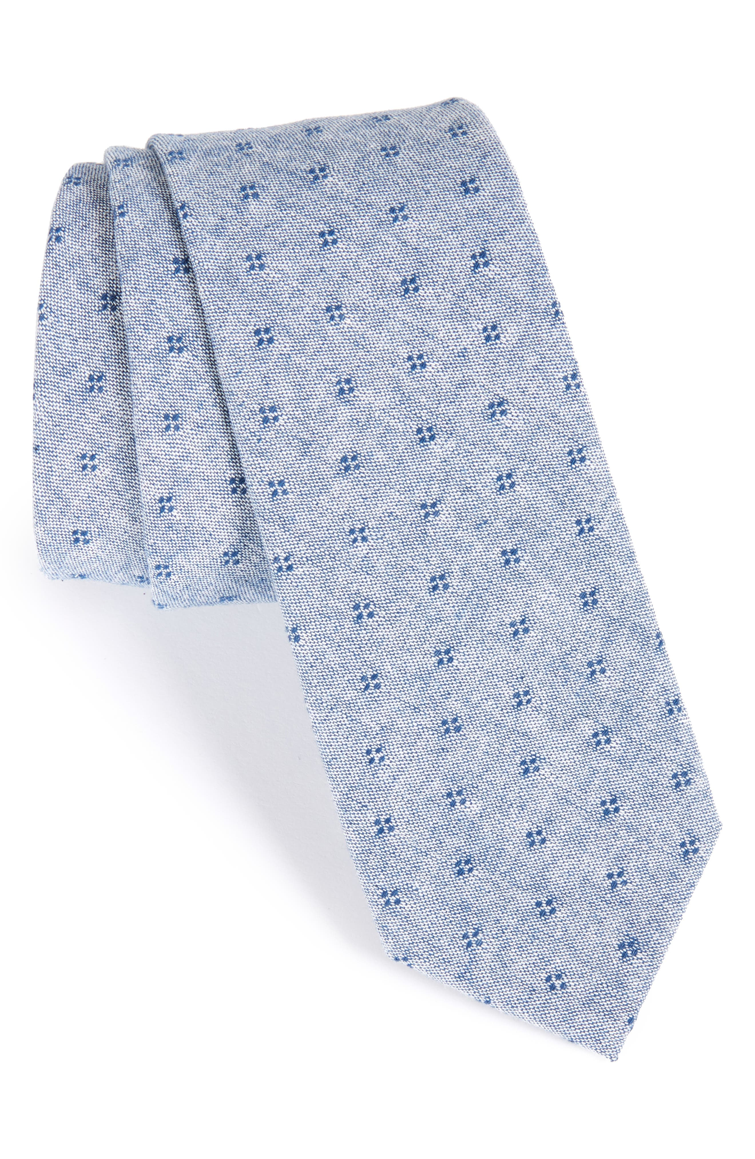 Dot Cotton Skinny Tie,                         Main,                         color, Navy