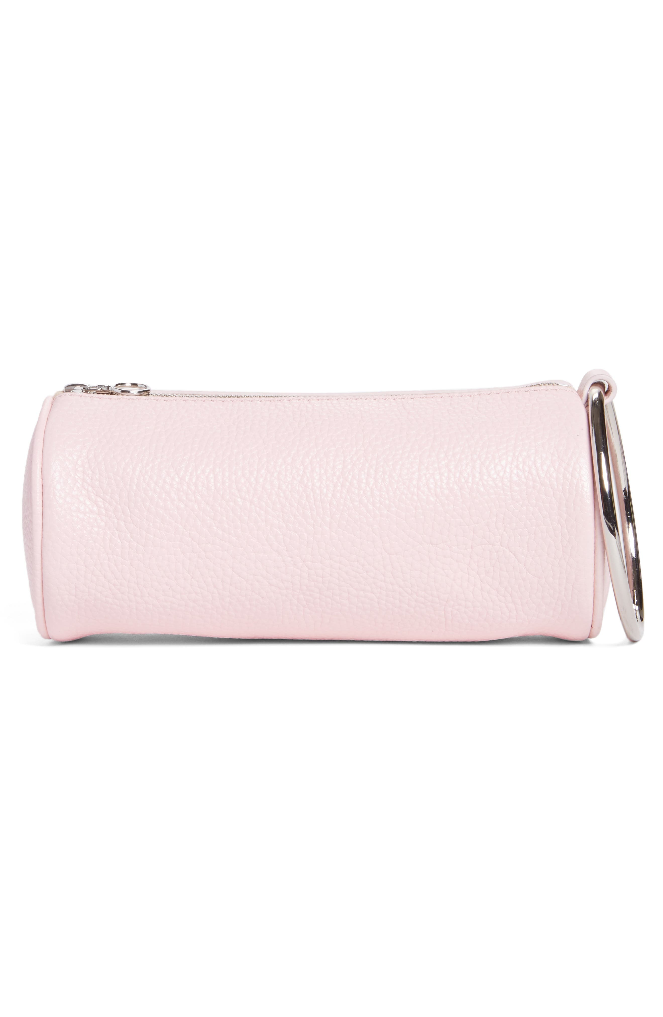 Pebbled Leather Duffel Wristlet Clutch,                             Alternate thumbnail 3, color,                             Blush Pink