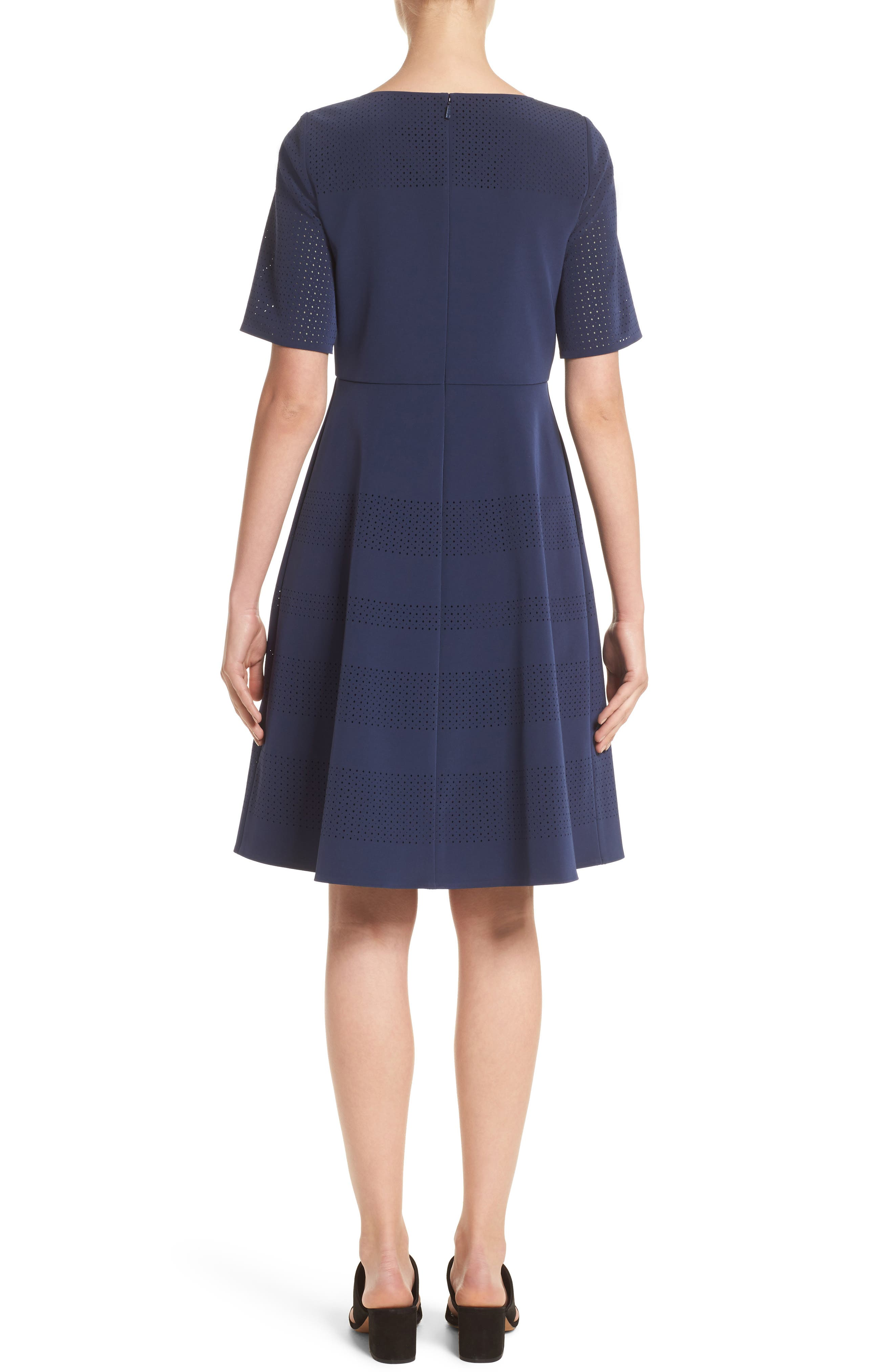 Tamera Perforated Fit & Flare Dress,                             Alternate thumbnail 2, color,                             Delft