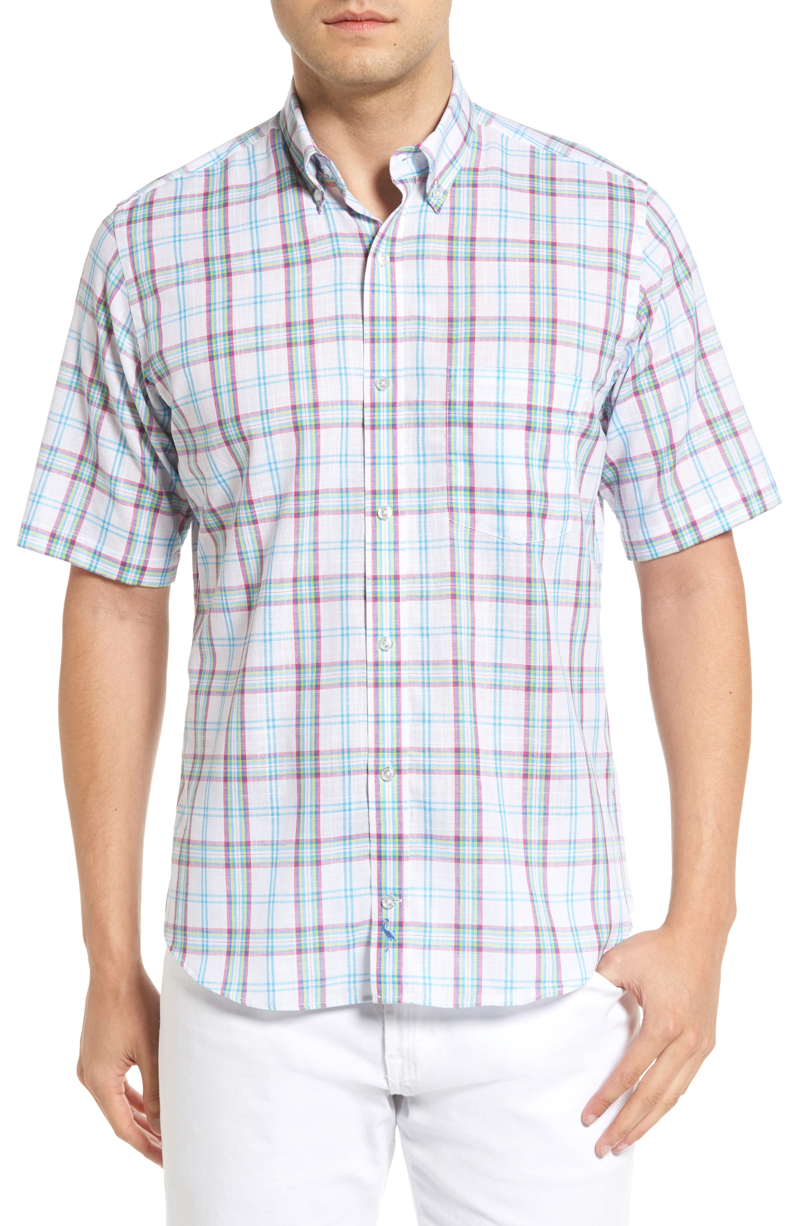 Alternate Image 1 Selected - Tailorbyrd Monterey Regular Fit Short Sleeve Plaid Sport Shirt