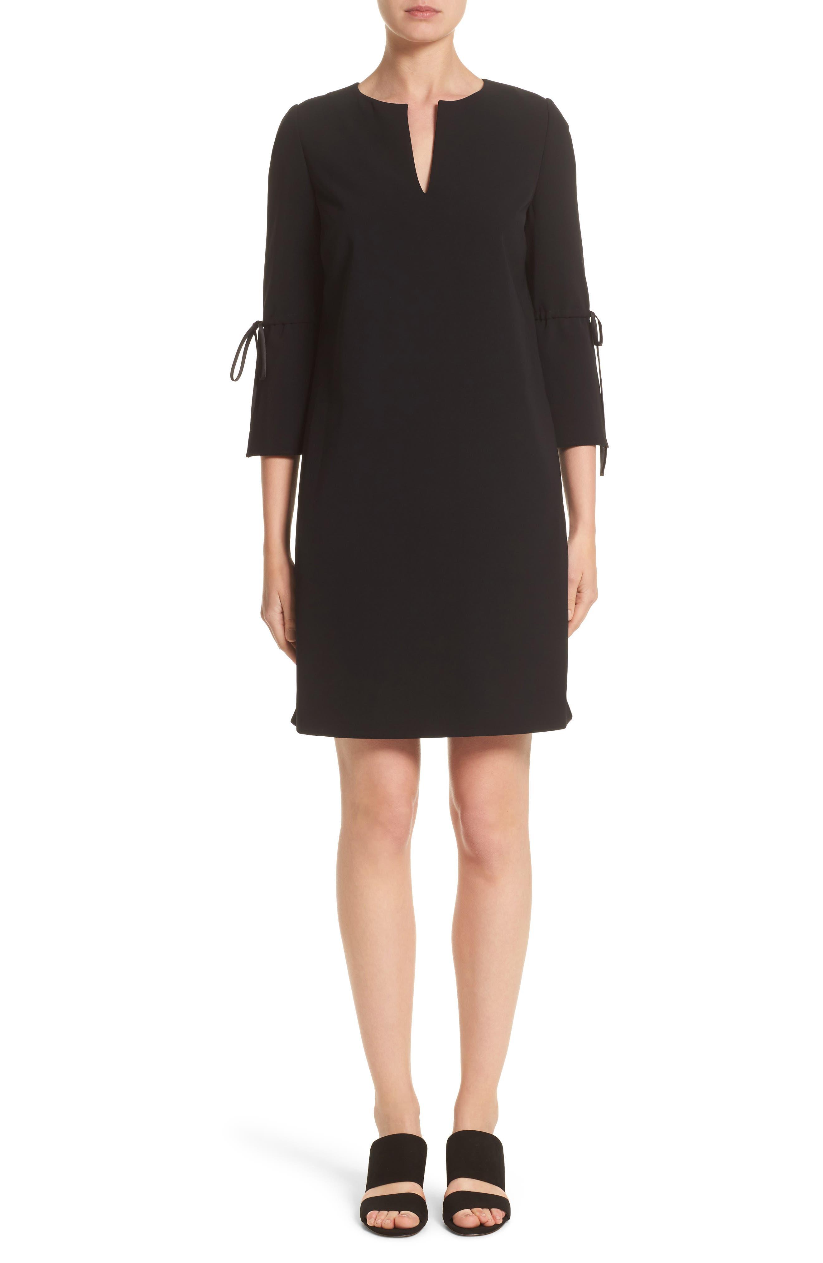 Deandra Tie Sleeve Shift Dress,                             Main thumbnail 1, color,                             Black