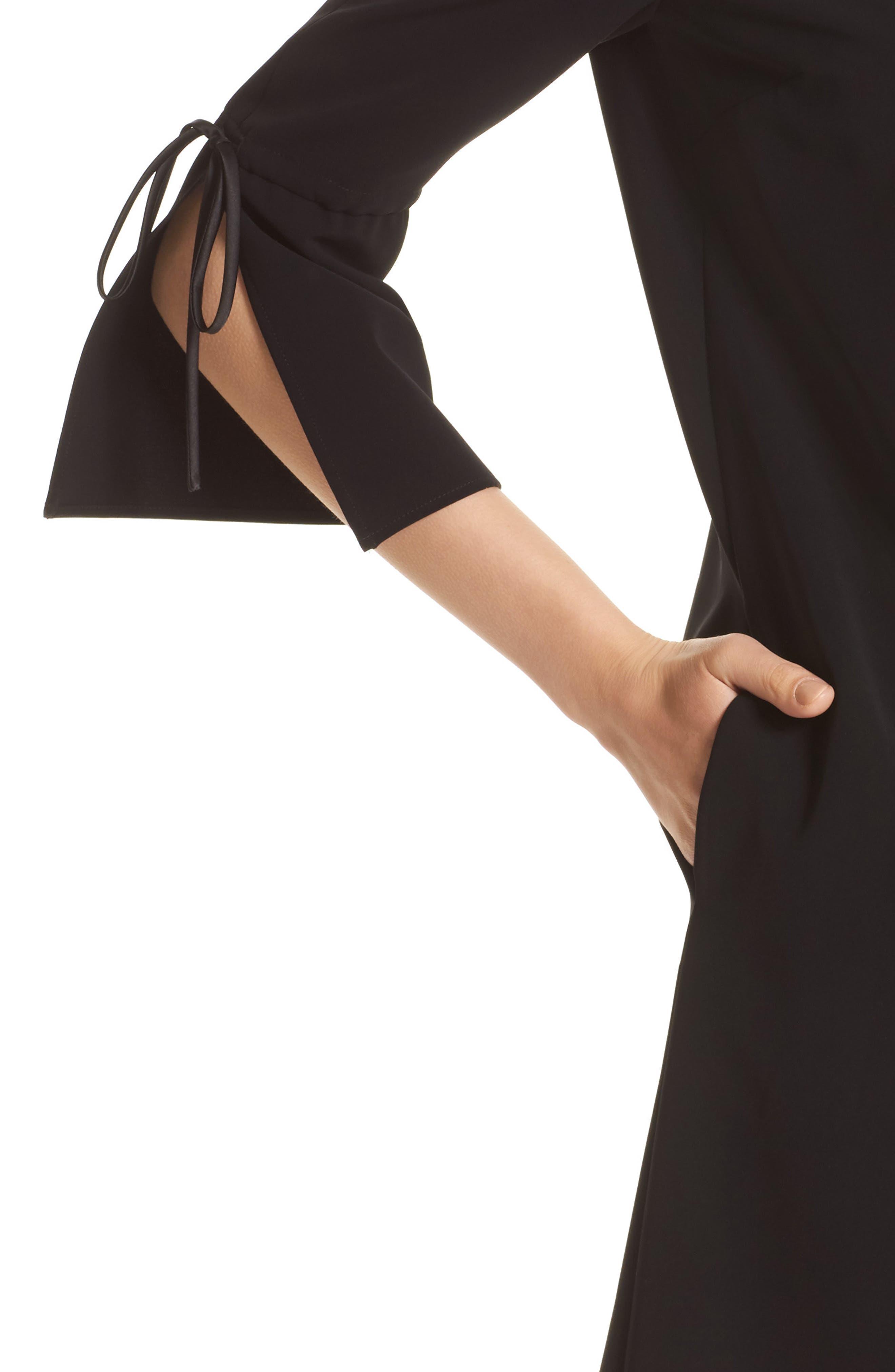 Deandra Tie Sleeve Shift Dress,                             Alternate thumbnail 7, color,                             Black