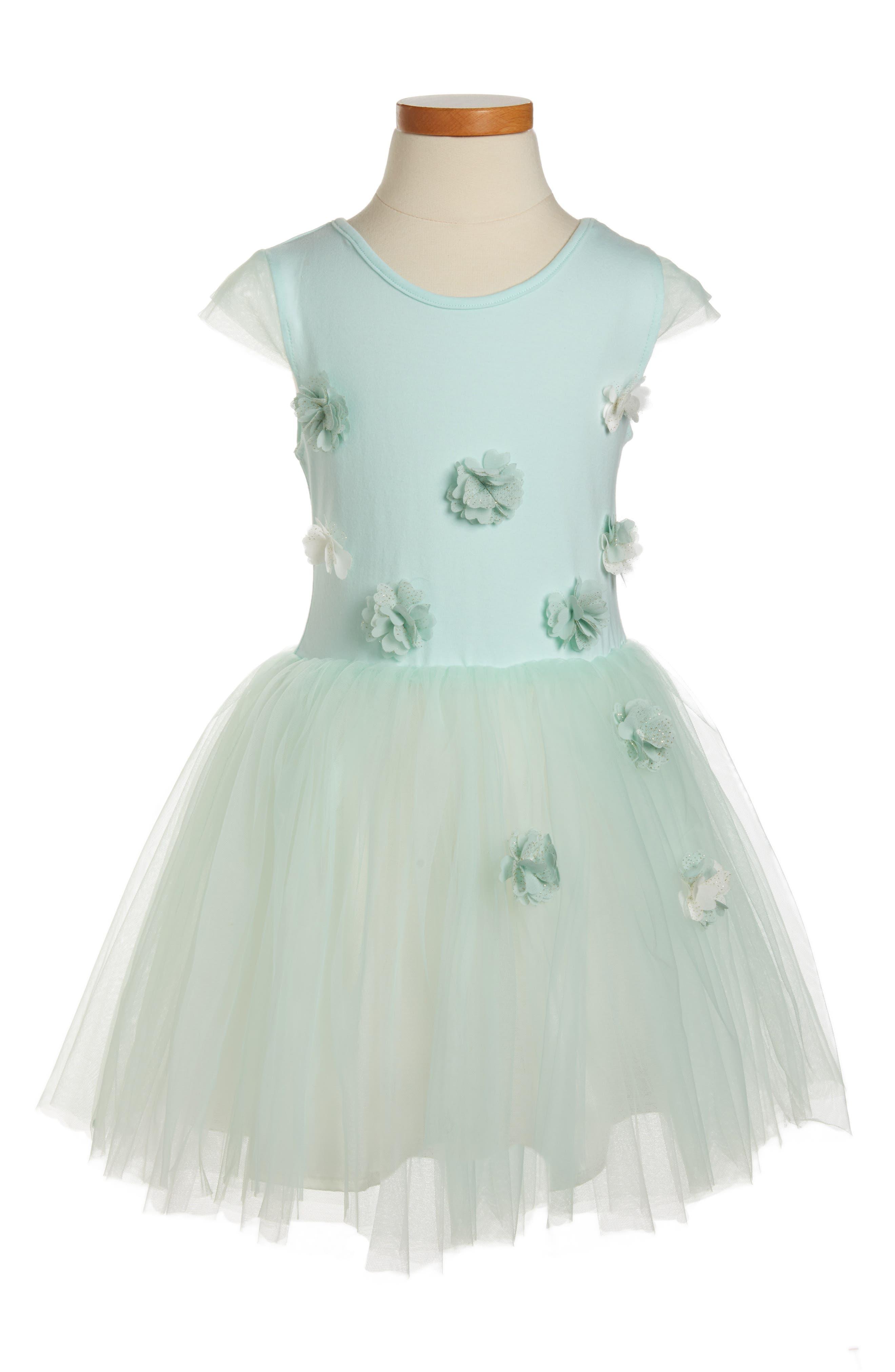 Flower Tulle Dress,                         Main,                         color, Mint