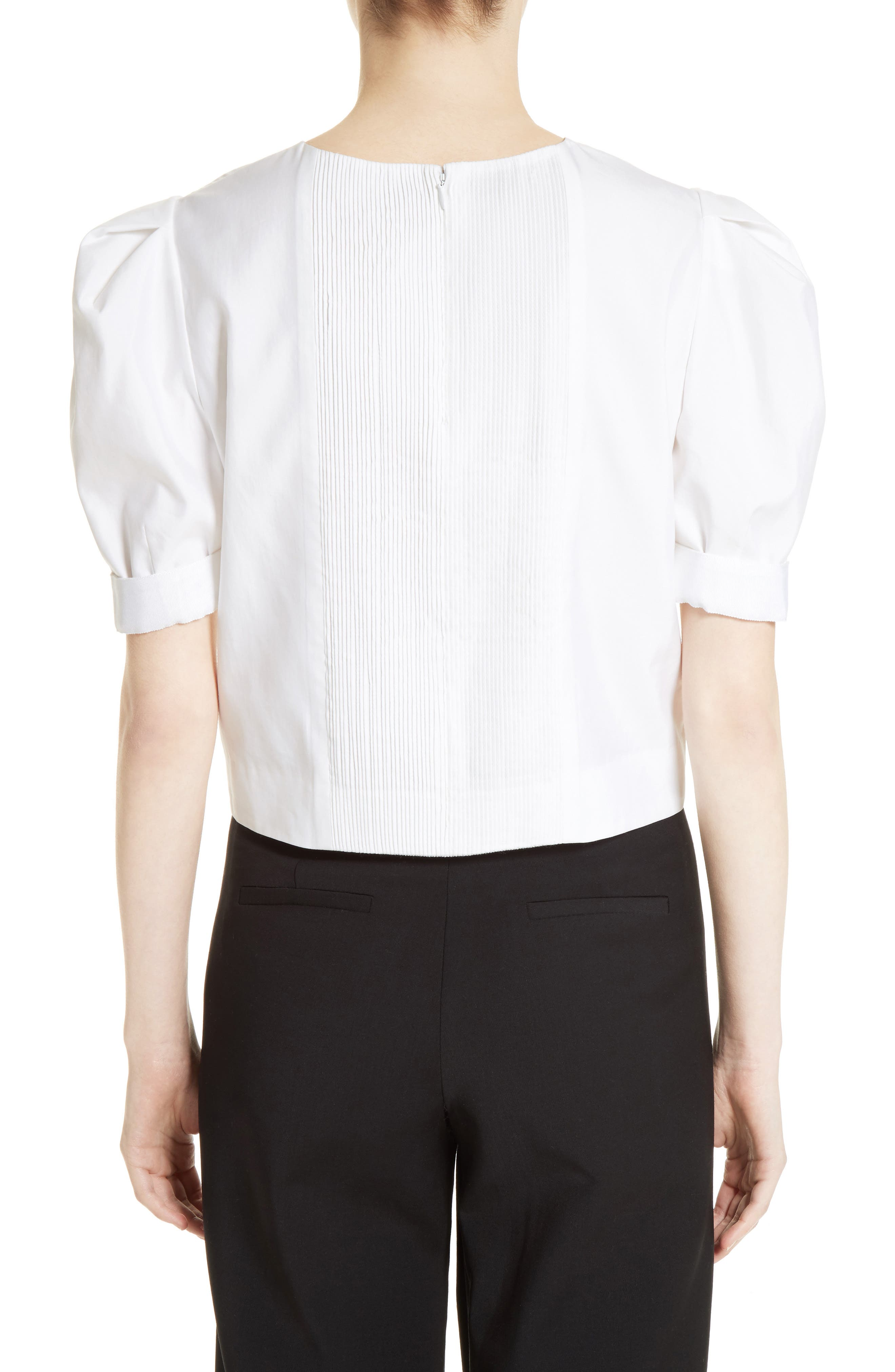 Alternate Image 2  - Adam Lippes Puff Sleeve Cotton Blouse