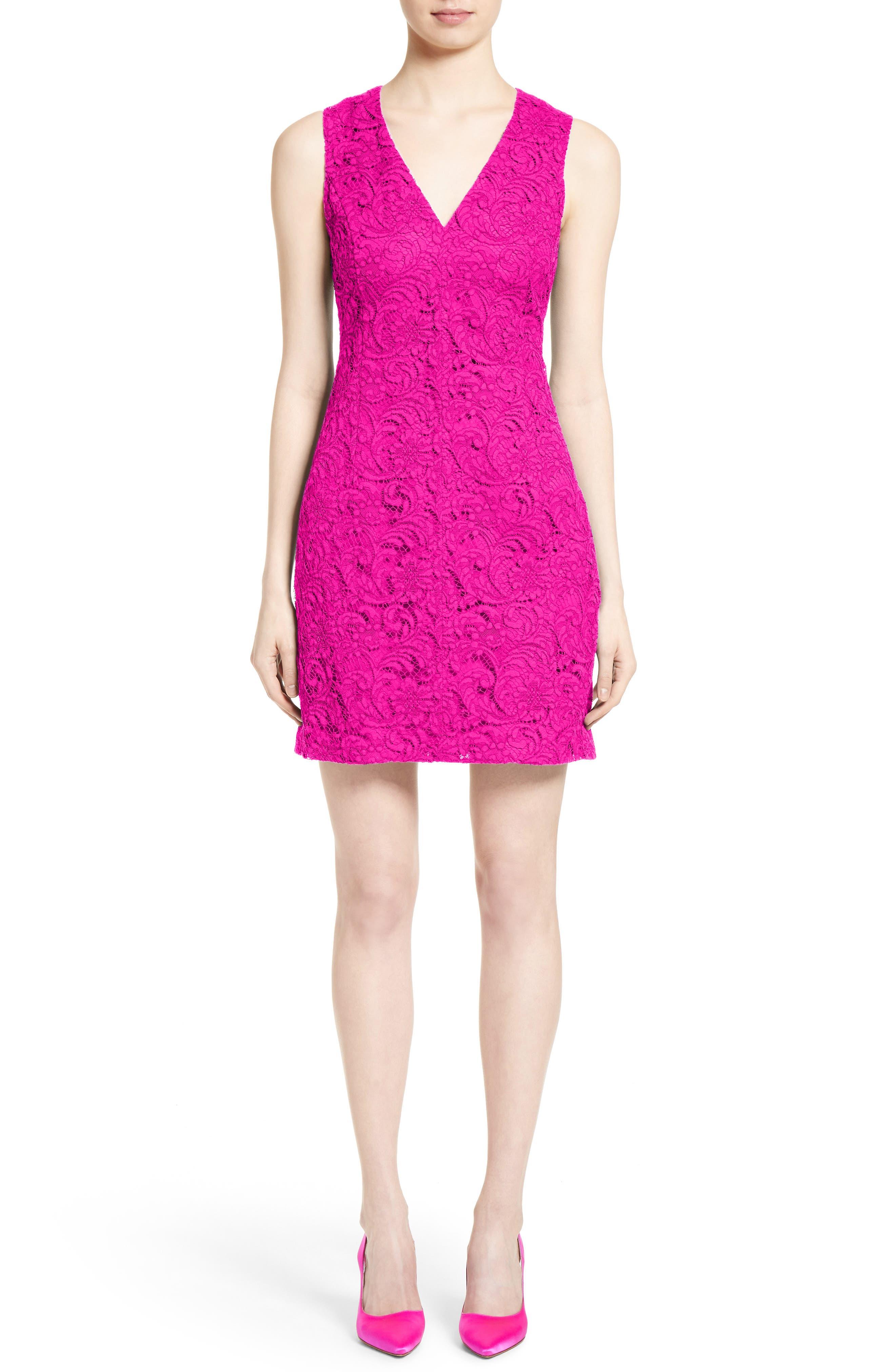 Lace Minidress,                         Main,                         color, Fuchsia