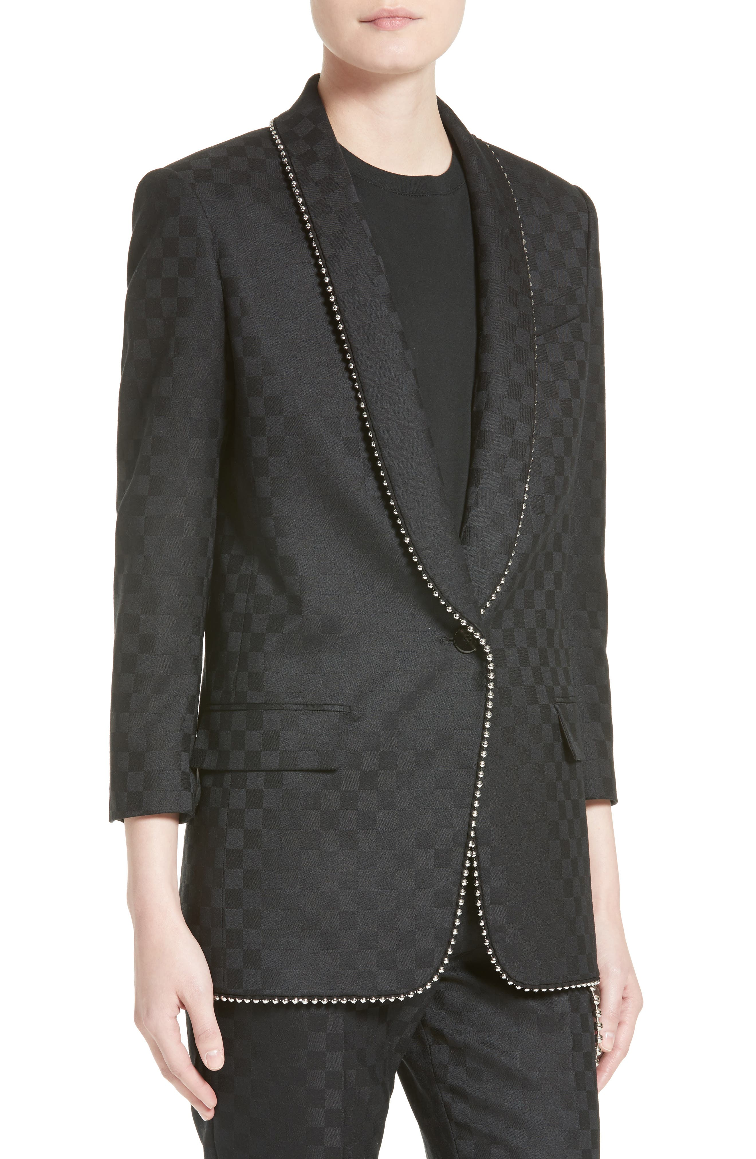 Alternate Image 6  - Alexander Wang Chain Trim Checkerboard Wool Blazer