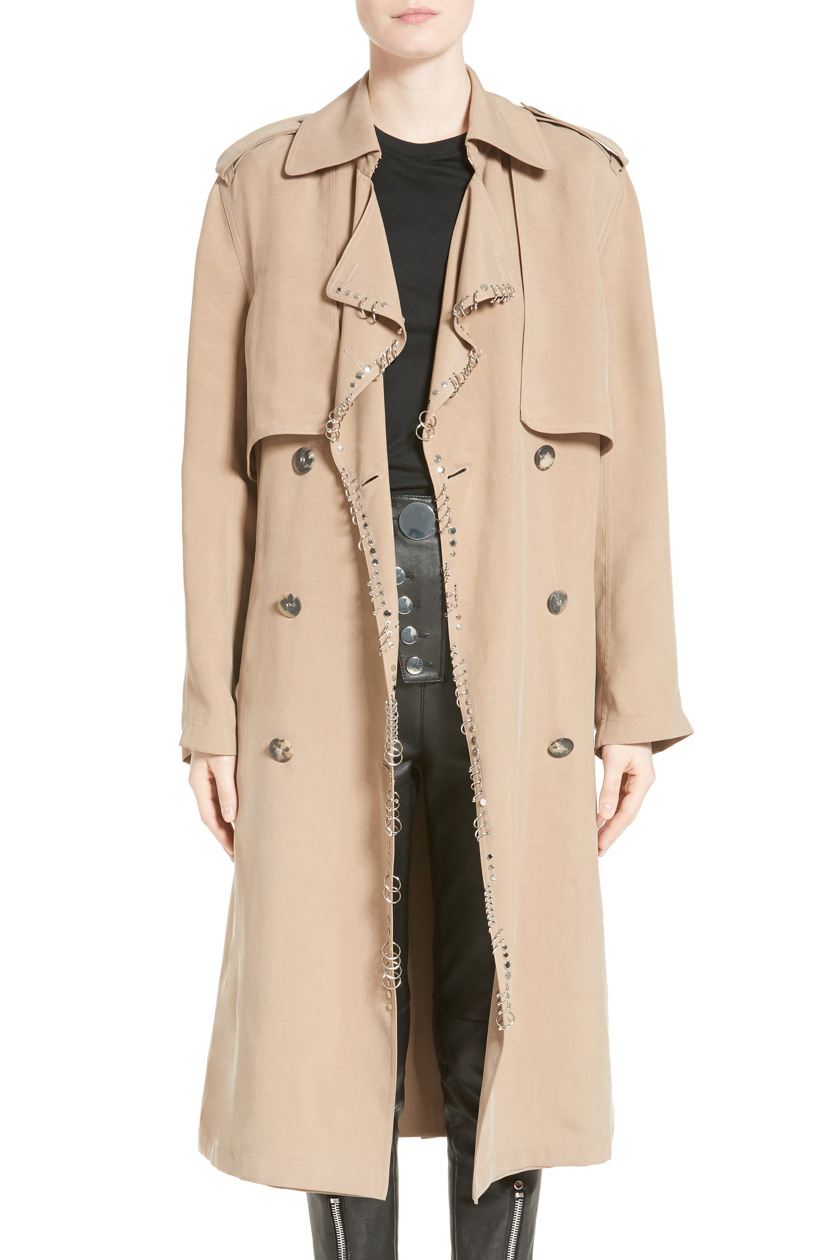 Pierced Trench Coat,                         Main,                         color, Sierra