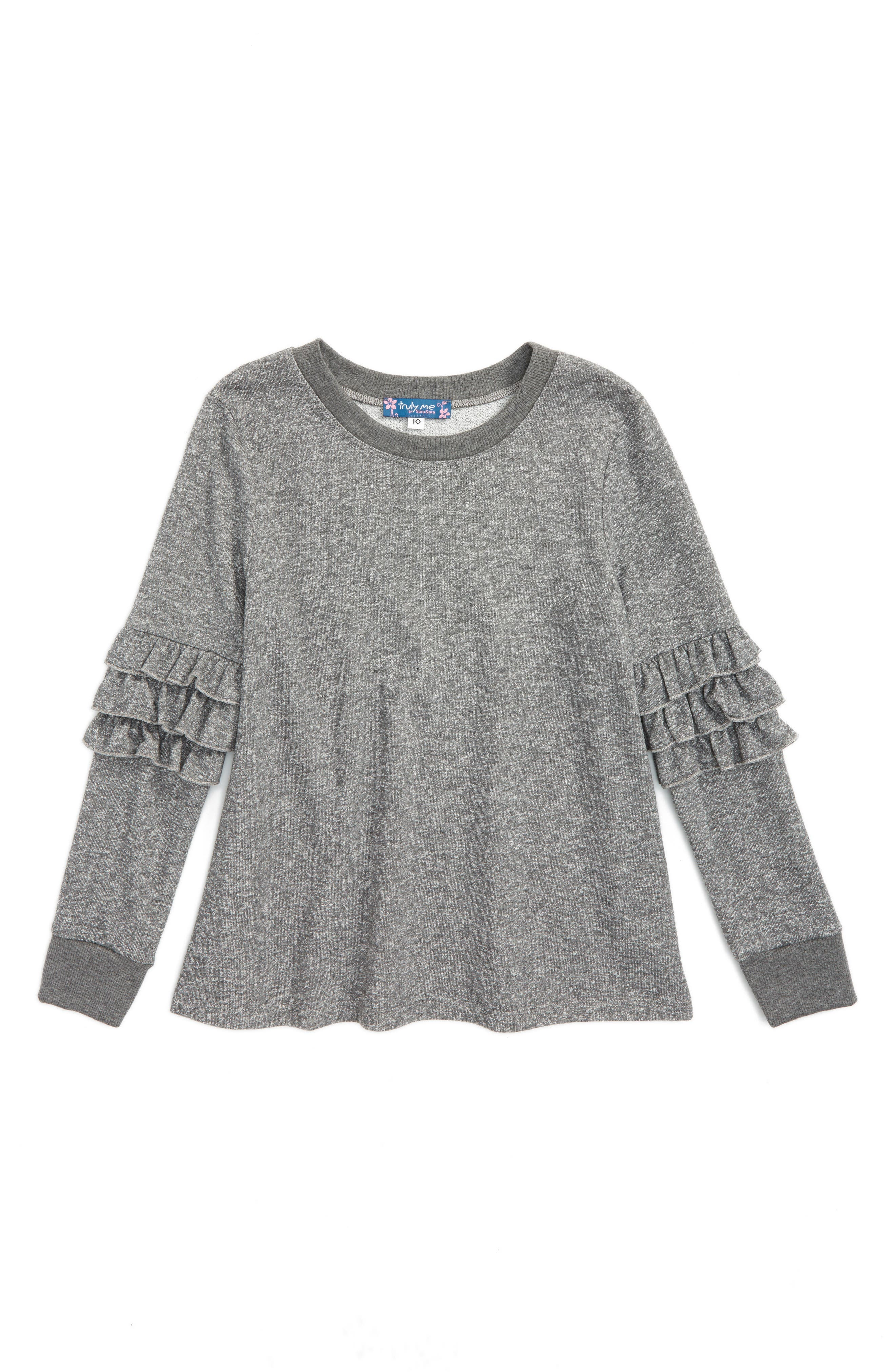 Truly Me Ruffle Sleeve Sweatshirt (Big Girls)