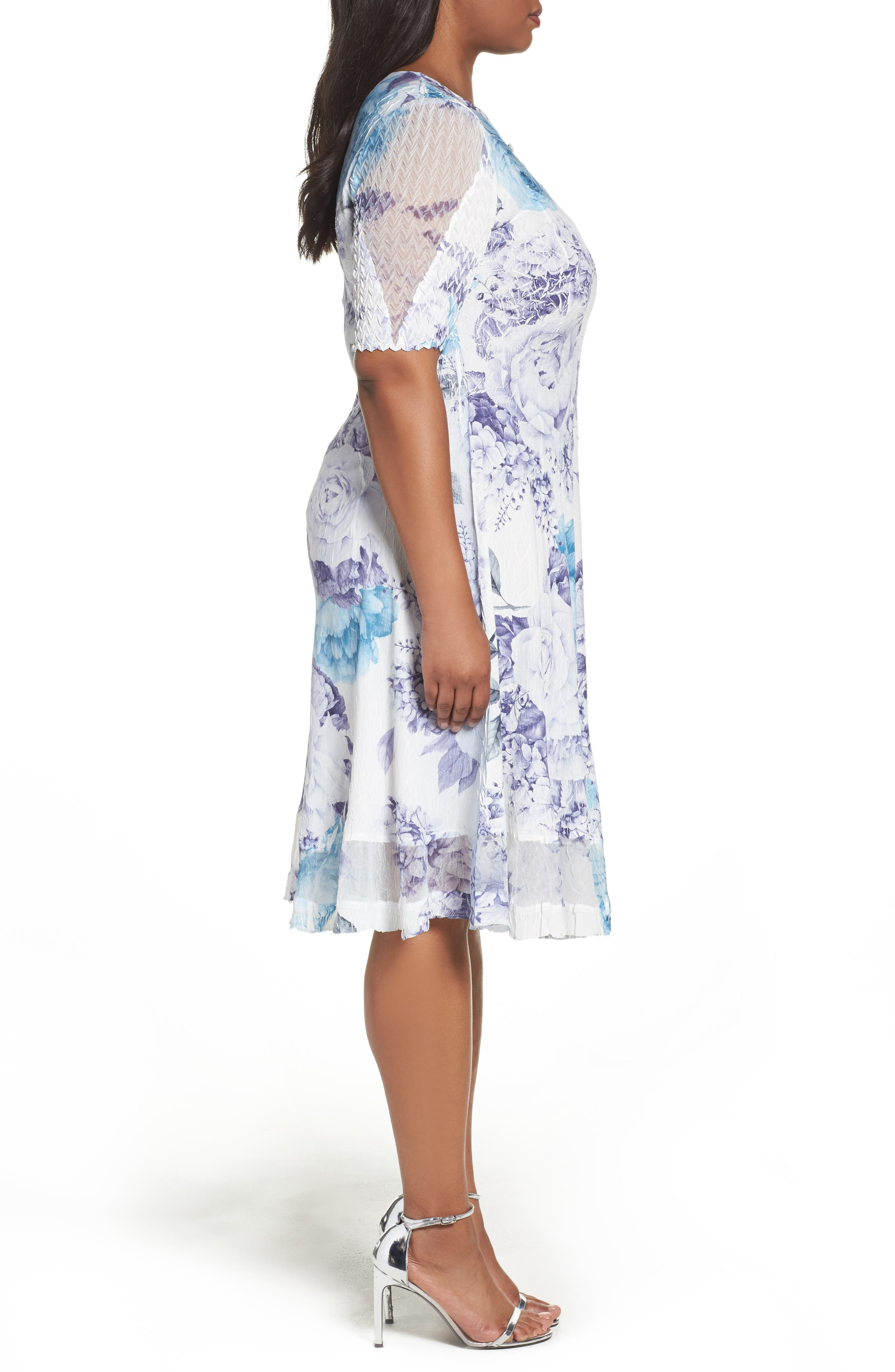 Alternate Image 3  - Komarov Print Keyhole Chiffon A-Line Dress (Plus Size)