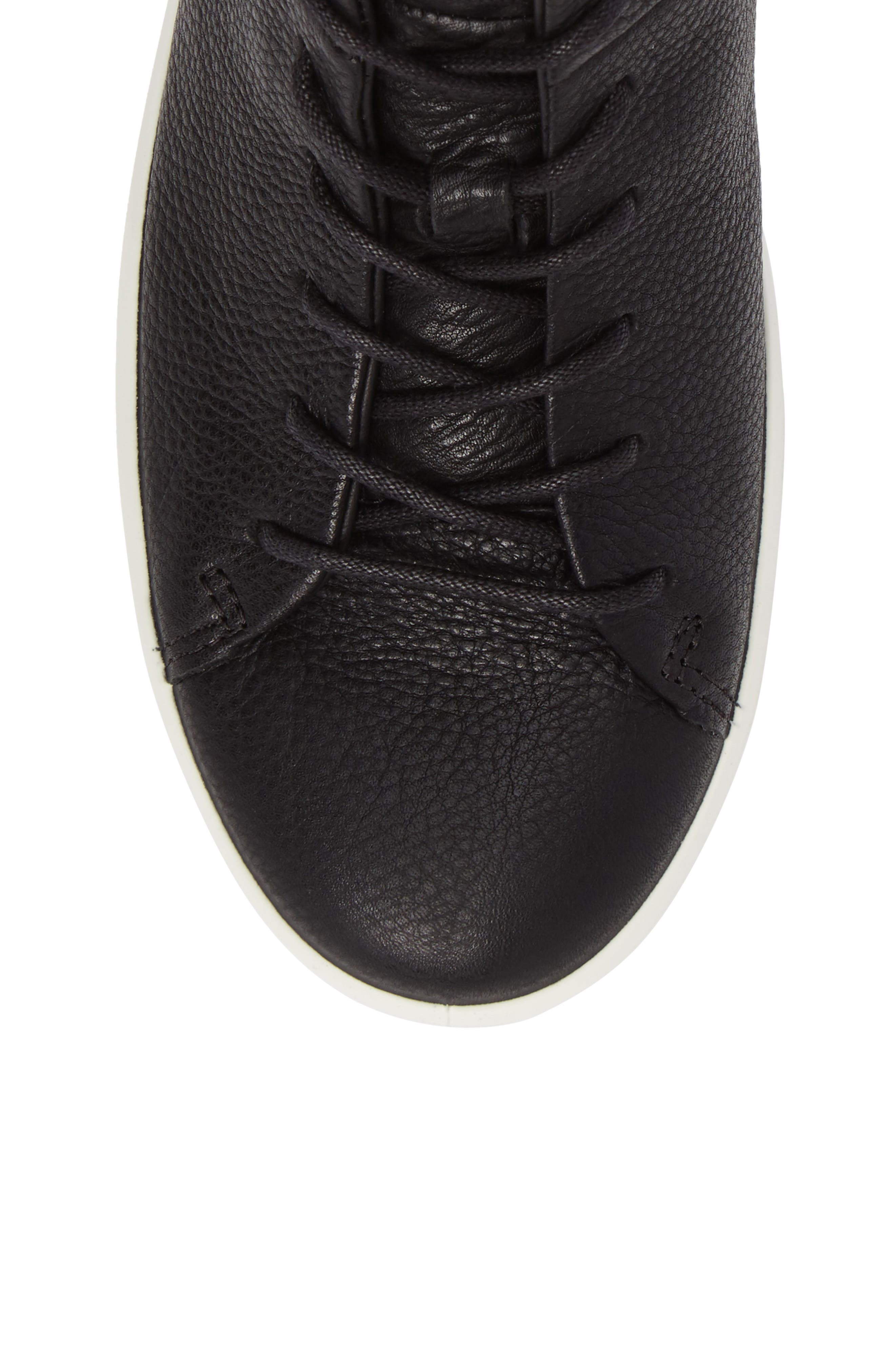 Soft 8 High Top Sneaker,                             Alternate thumbnail 5, color,                             Black Leather