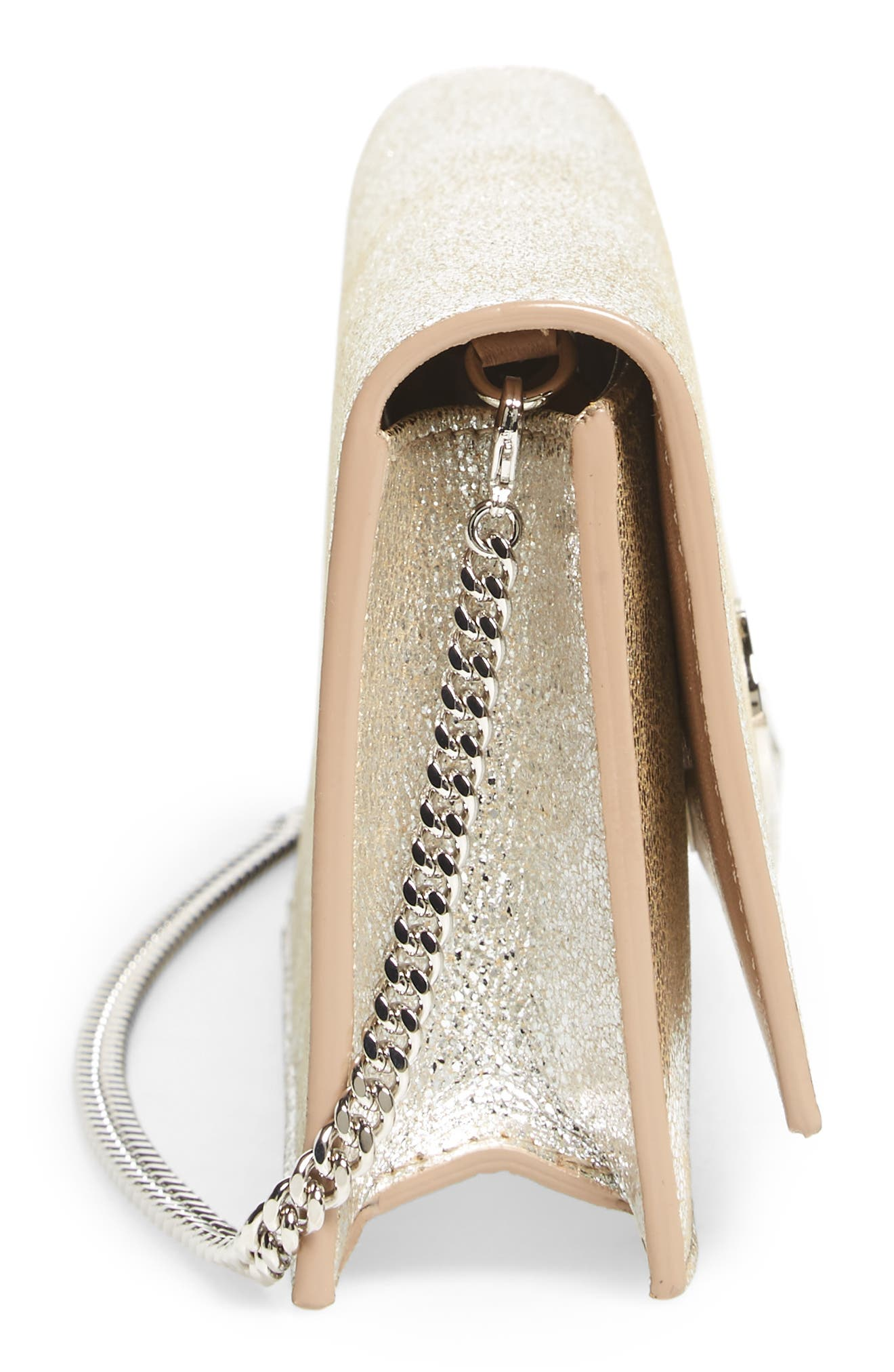 Fie Metallic Leather Clutch,                             Alternate thumbnail 4, color,                             Champagne