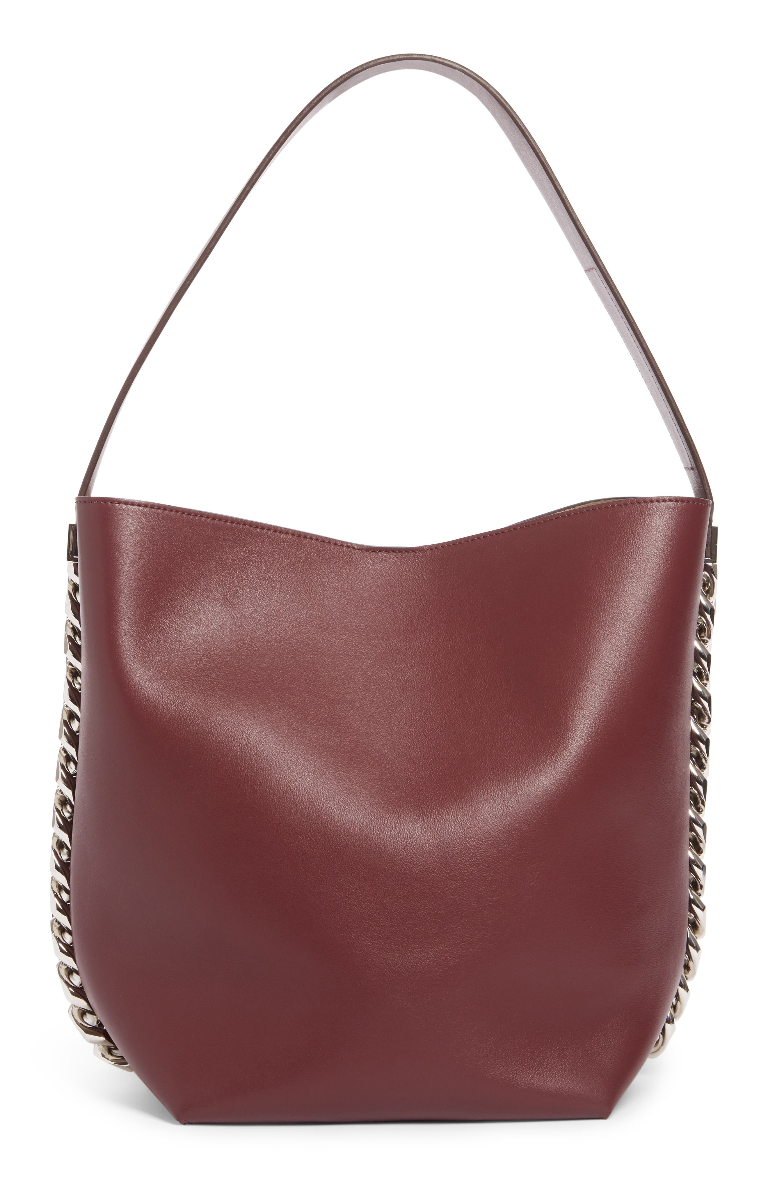 Infinity Calfskin Leather Bucket Bag,                             Alternate thumbnail 3, color,                             Oxblood