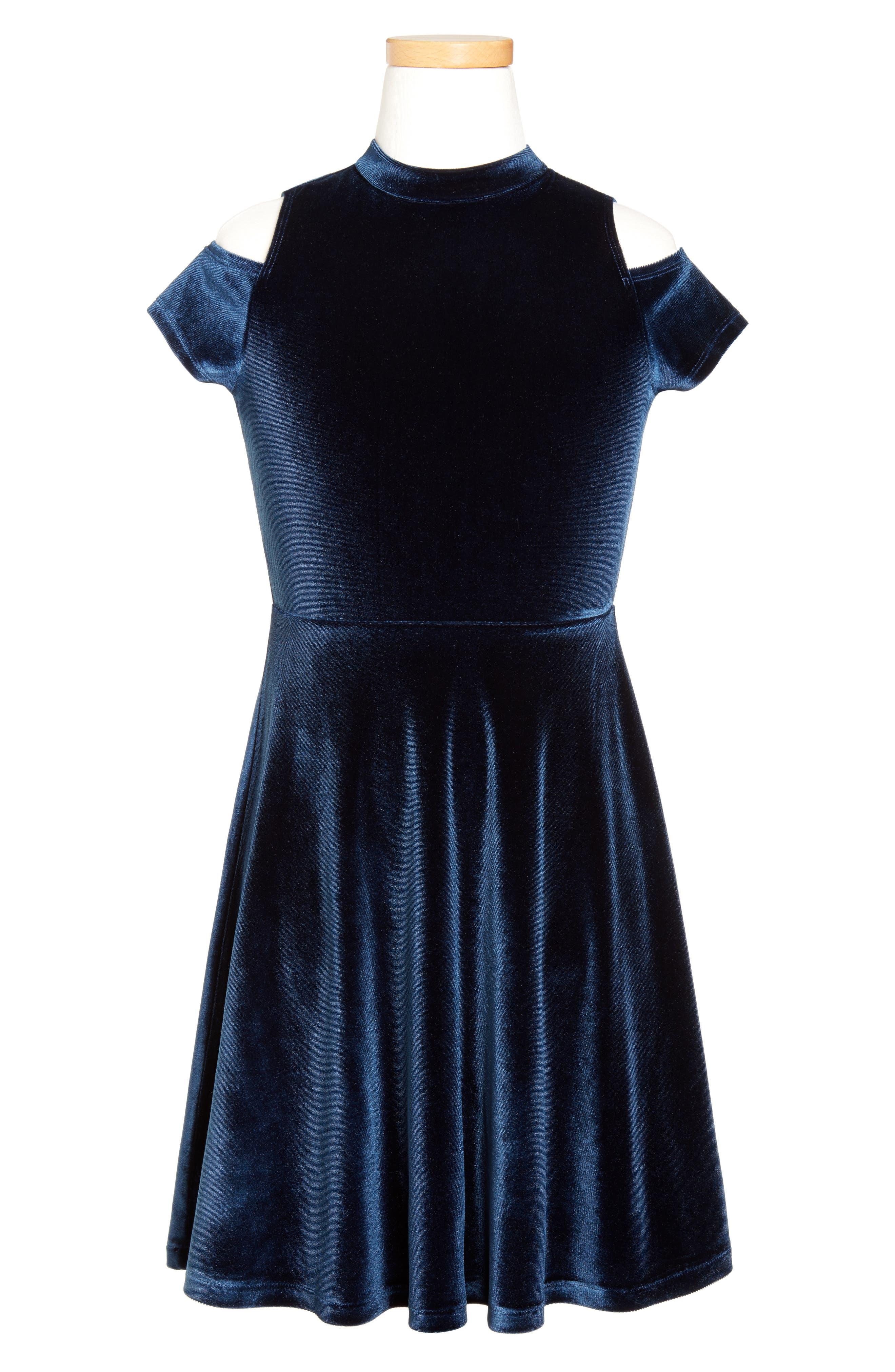 Velour Cold Shoulder Dress,                         Main,                         color, Blue Estate