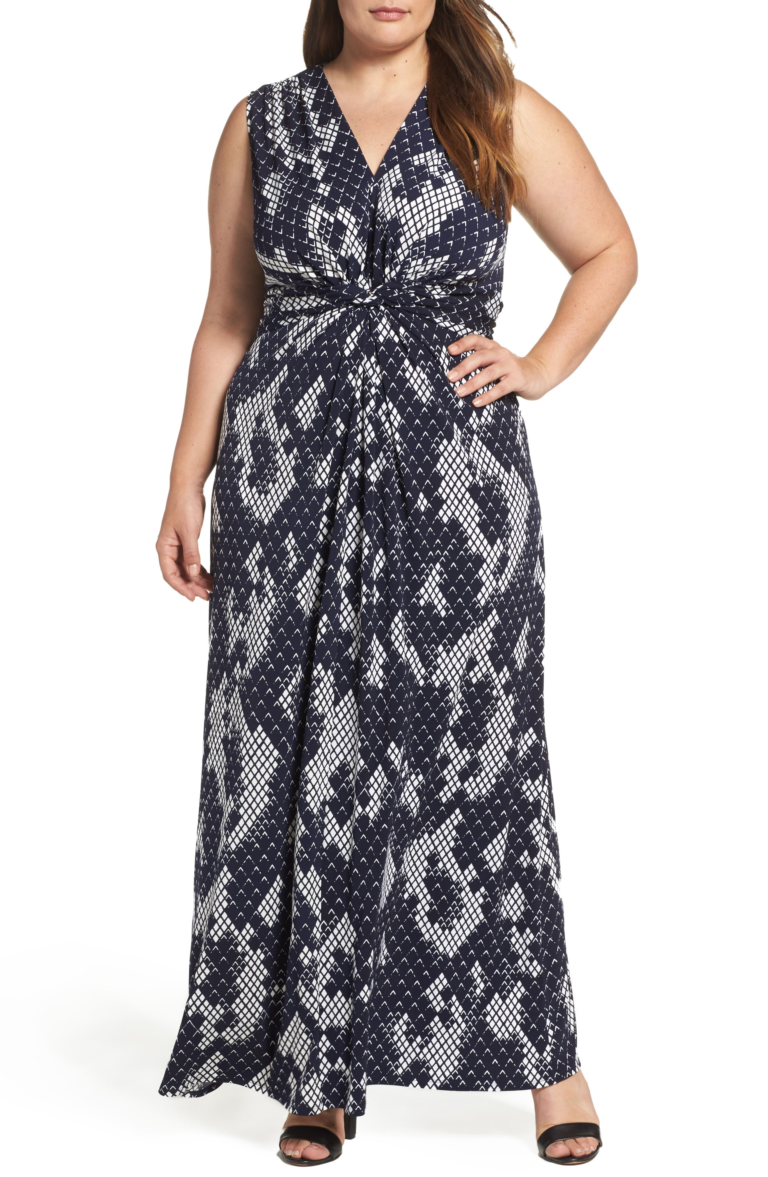 Knot Front Maxi Dress,                         Main,                         color, Navy/ Ivory