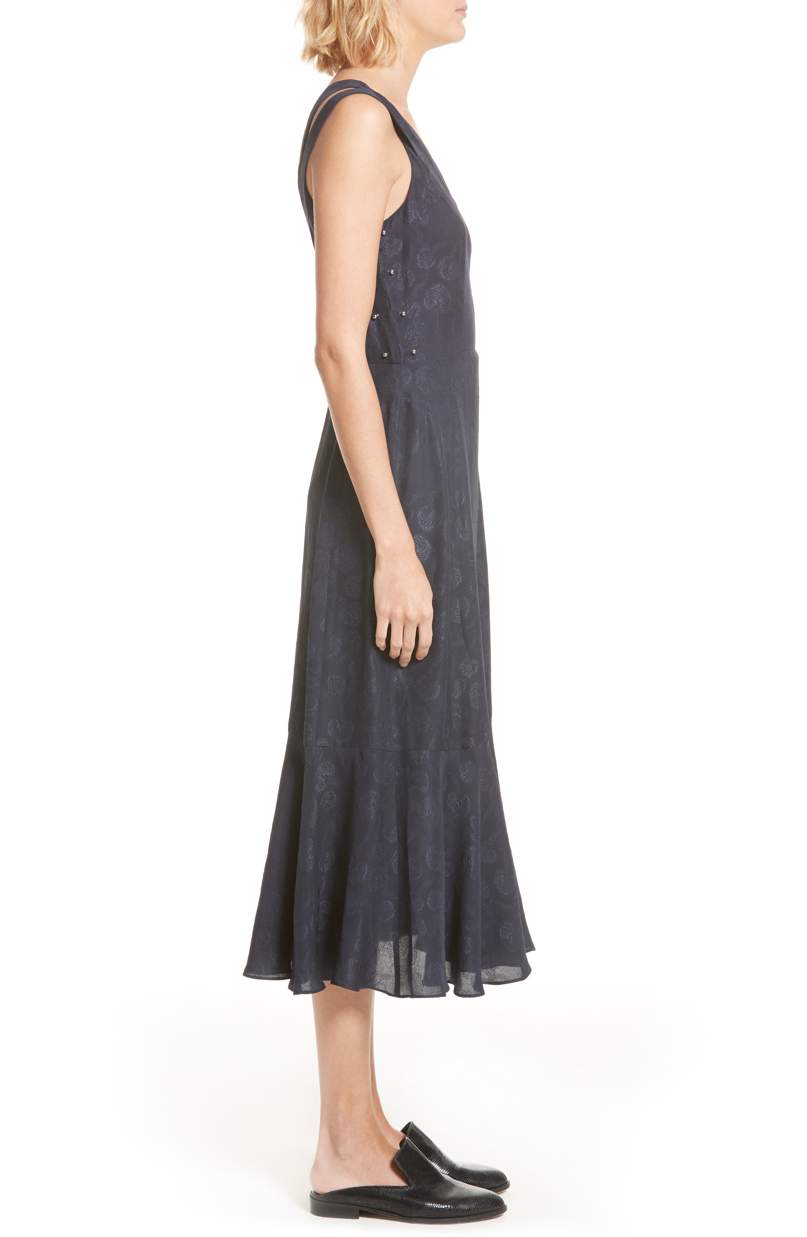 Barbell Detail Silk Jacquard Midi Dress,                             Alternate thumbnail 3, color,                             Midnight