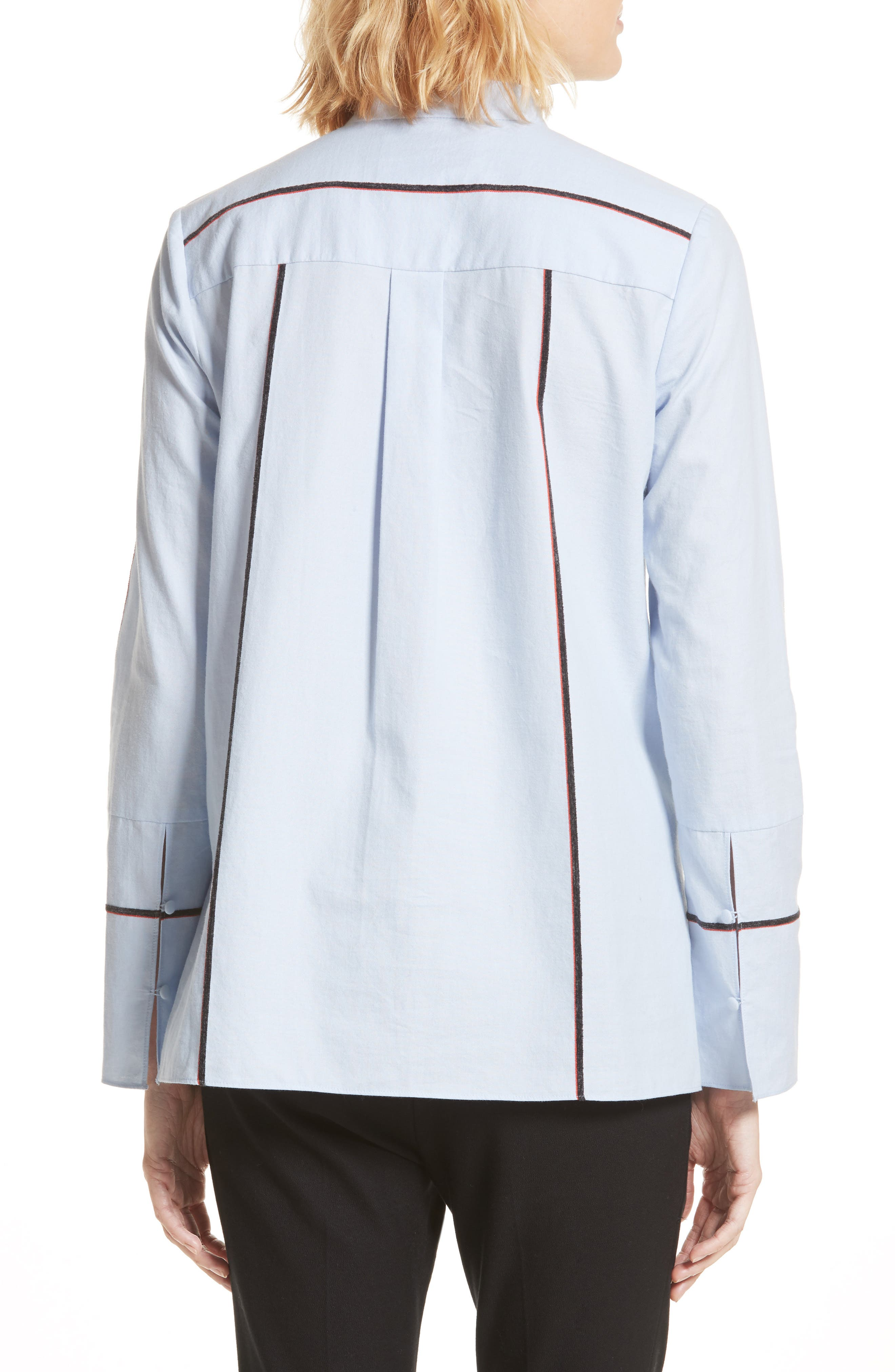 Stripe Cascade Ruffle Shirt,                             Alternate thumbnail 3, color,                             Oxford