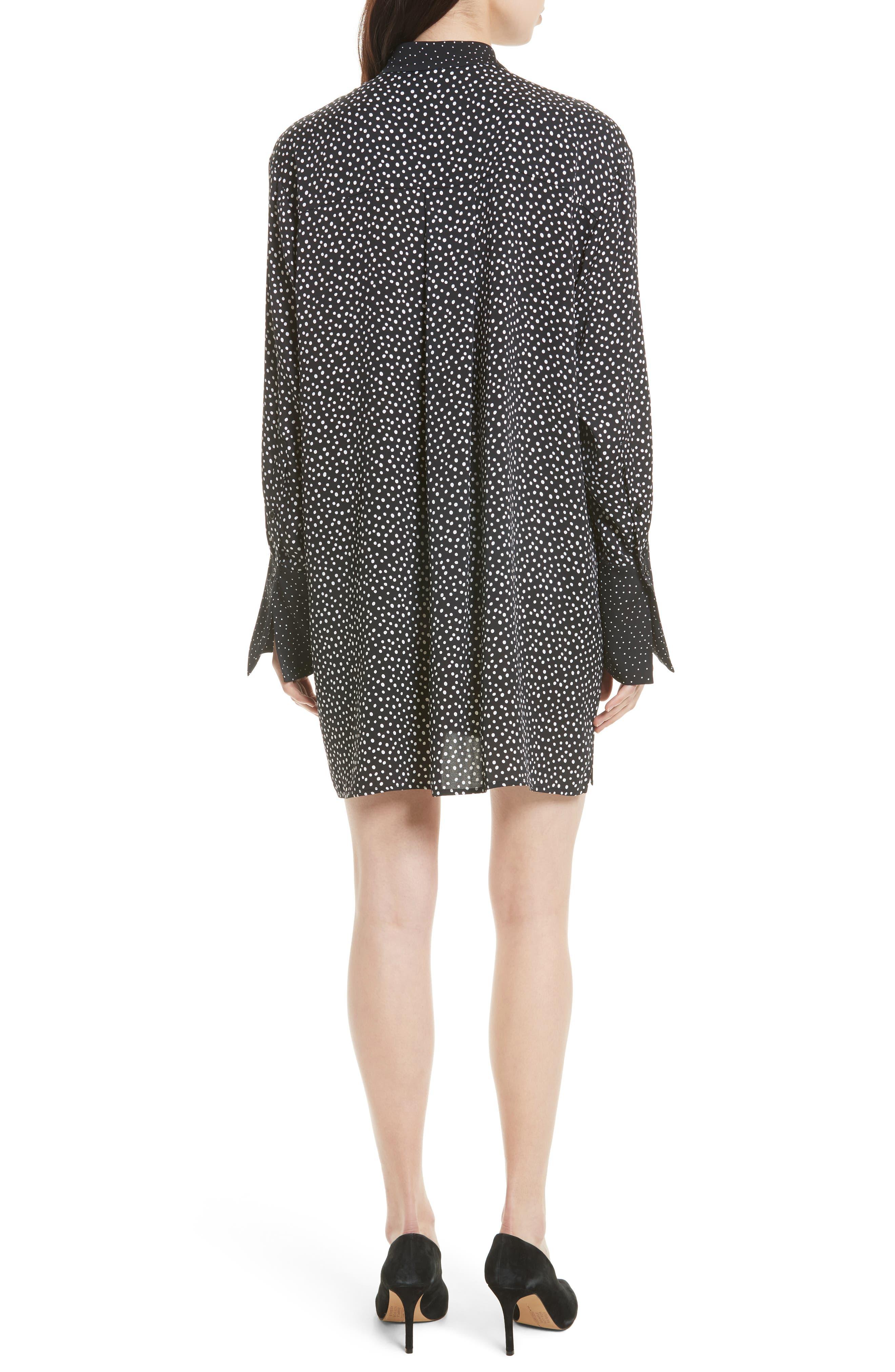 Silk Shirtdress,                             Alternate thumbnail 2, color,                             Orillon Dot Black