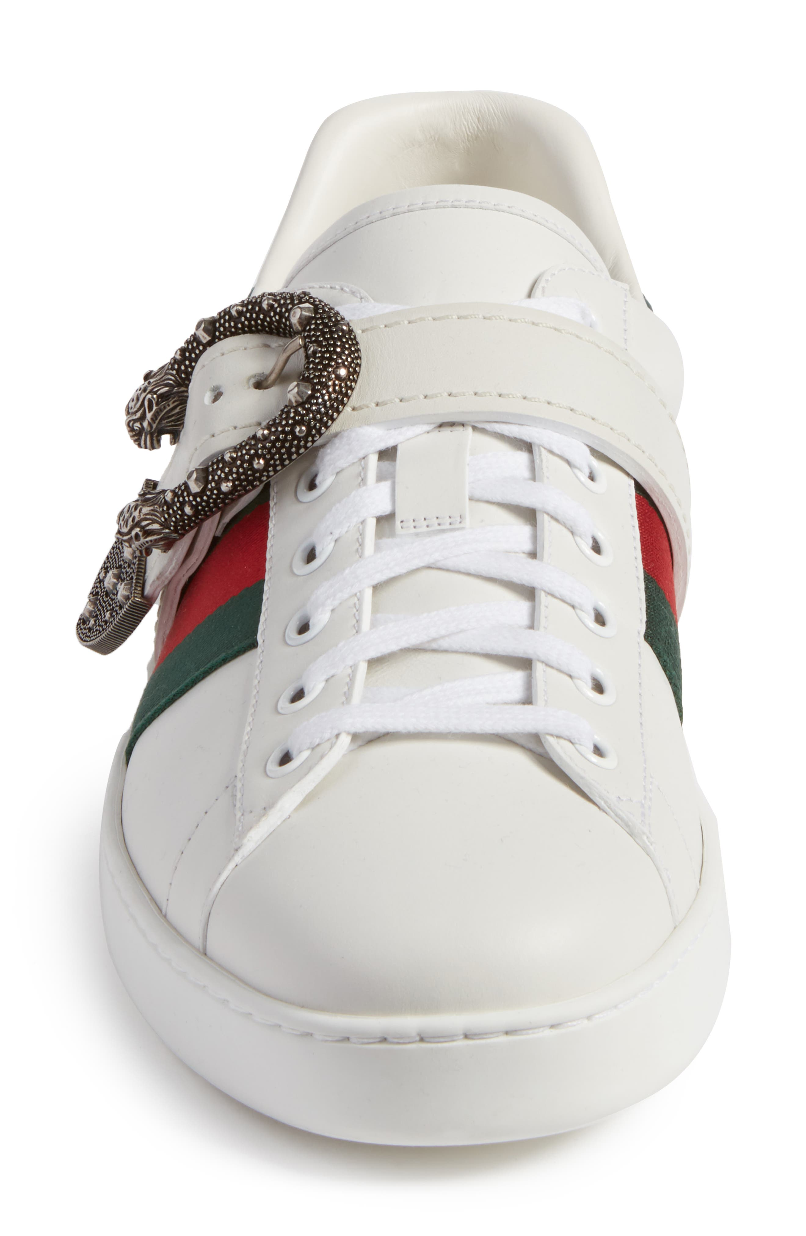 New Ace Dionysus Buckle Low Top Sneaker,                             Alternate thumbnail 4, color,                             White With Silver Hardware