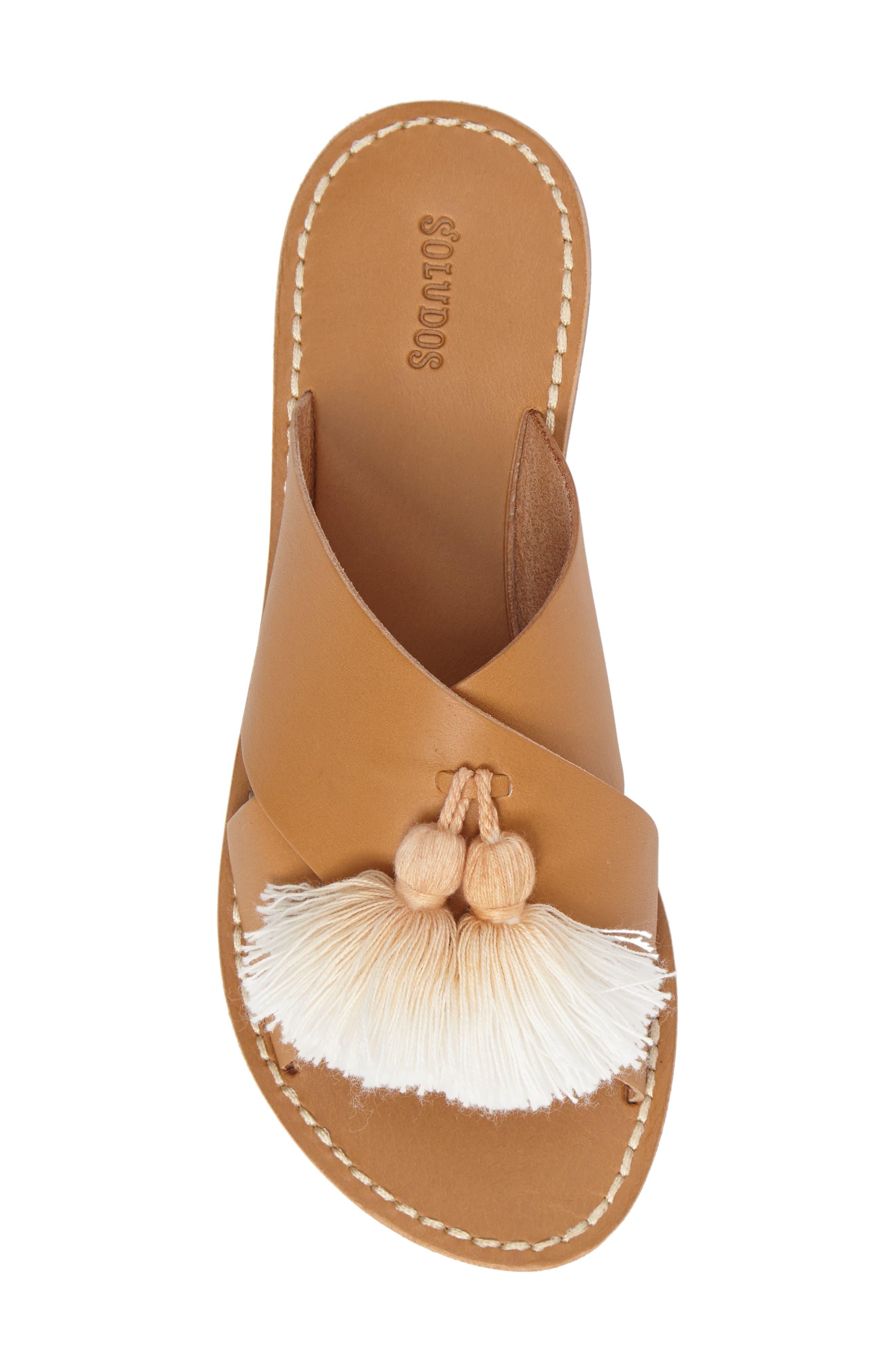 Tassel Slide Sandal,                             Alternate thumbnail 5, color,                             Brown Leather