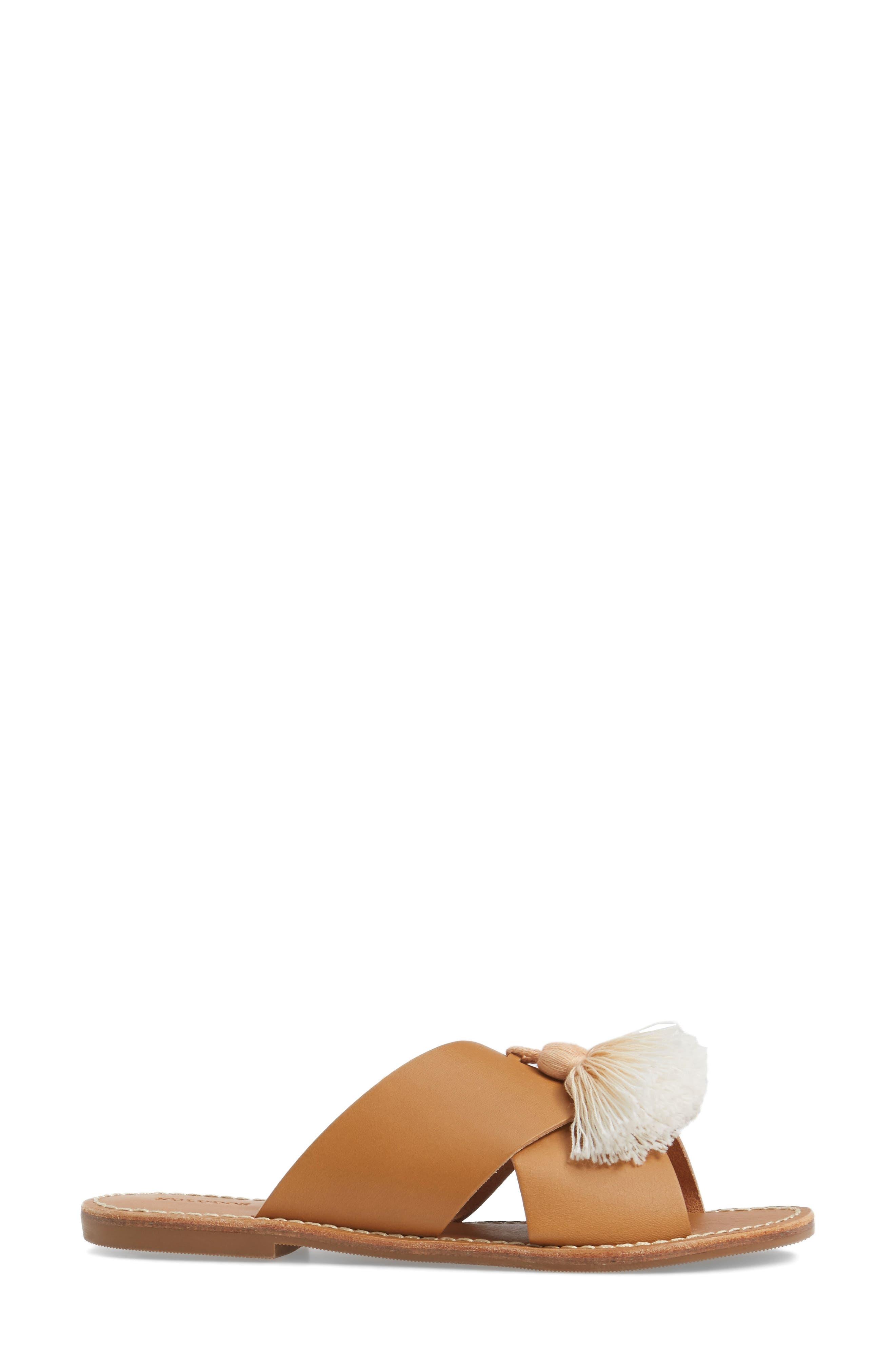Tassel Slide Sandal,                             Alternate thumbnail 3, color,                             Brown Leather