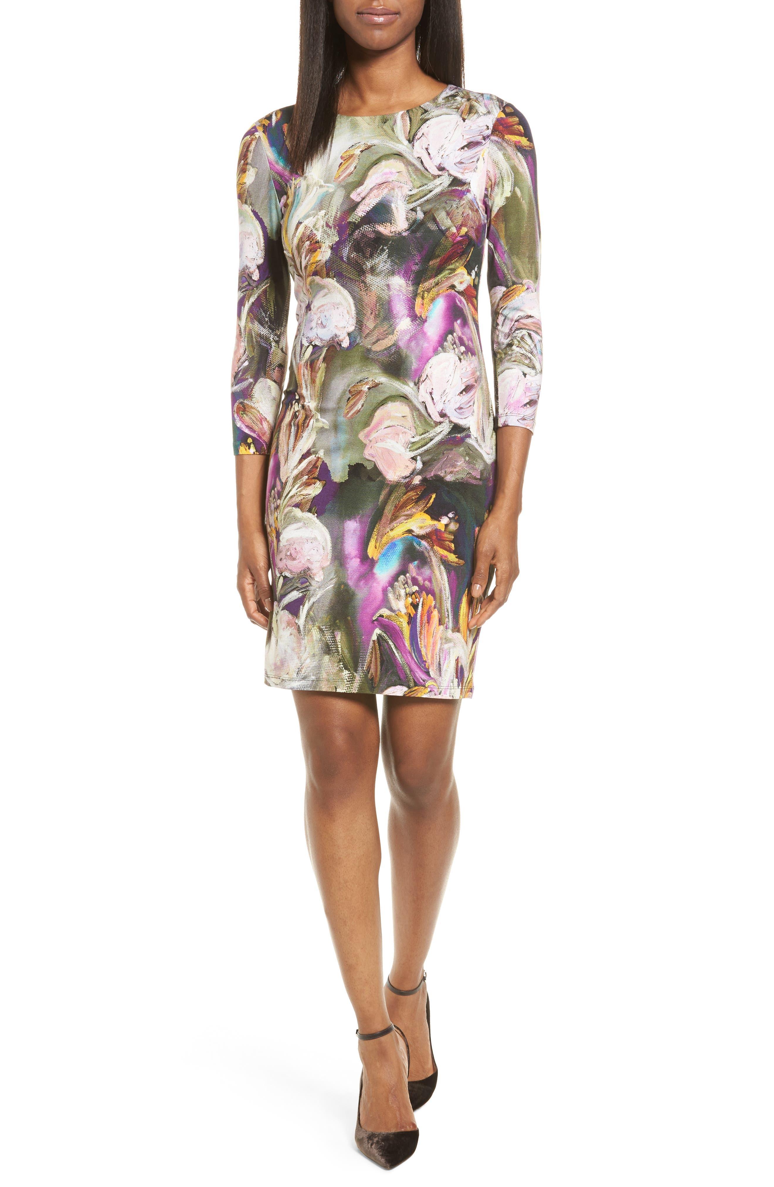 Karen Kane Painted Floral Sheath Dress (Regular & Petite)