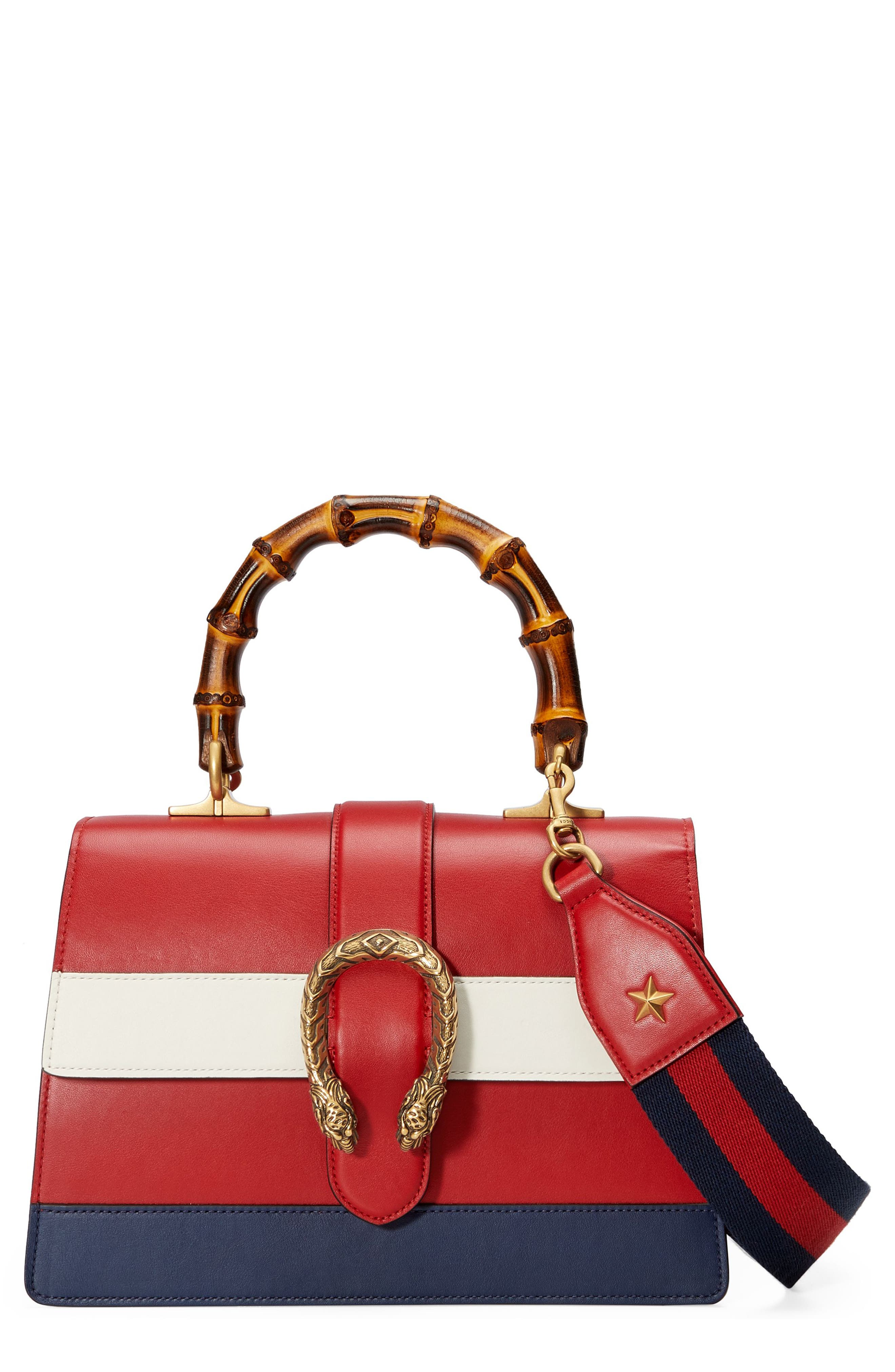 Small Dionysus Top Handle Leather Shoulder Bag,                             Main thumbnail 1, color,                             Red/ White/ Blue
