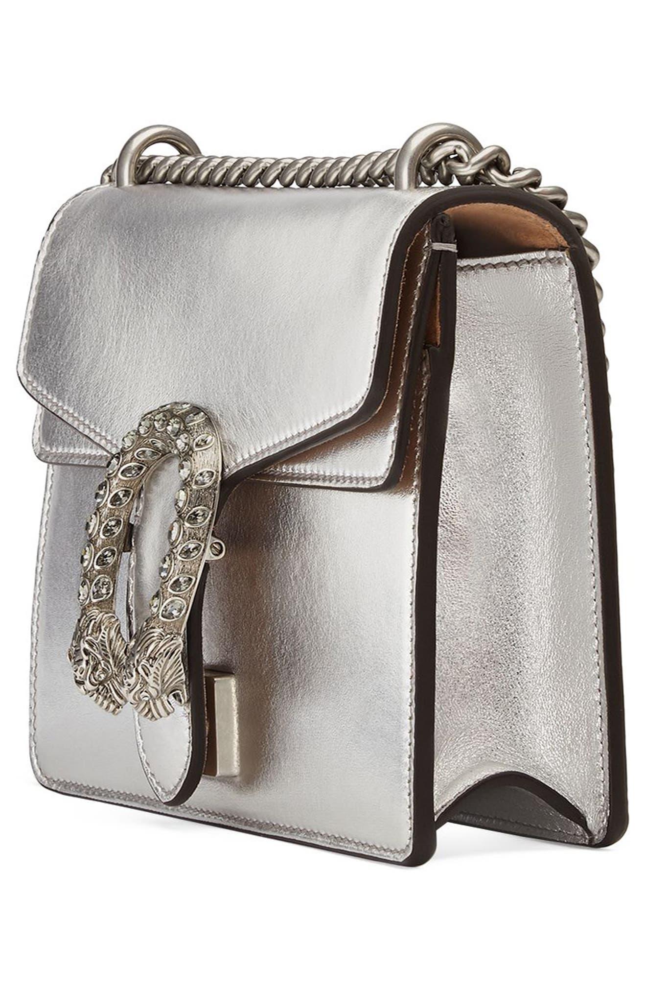Mini Dionysus Metallic Leather Shoulder Bag,                             Alternate thumbnail 4, color,                             Argento/Blk Diamond