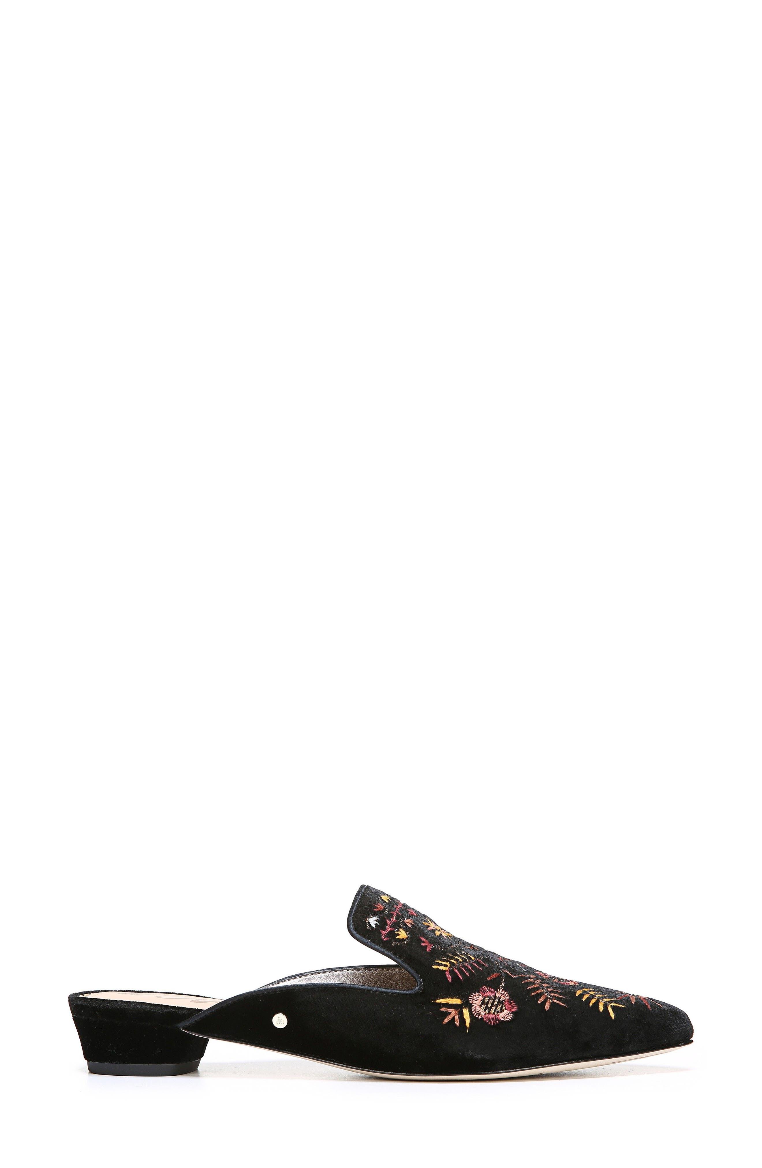 Ansley Pointy Toe Loafer Mule,                             Alternate thumbnail 3, color,                             Black Velvet