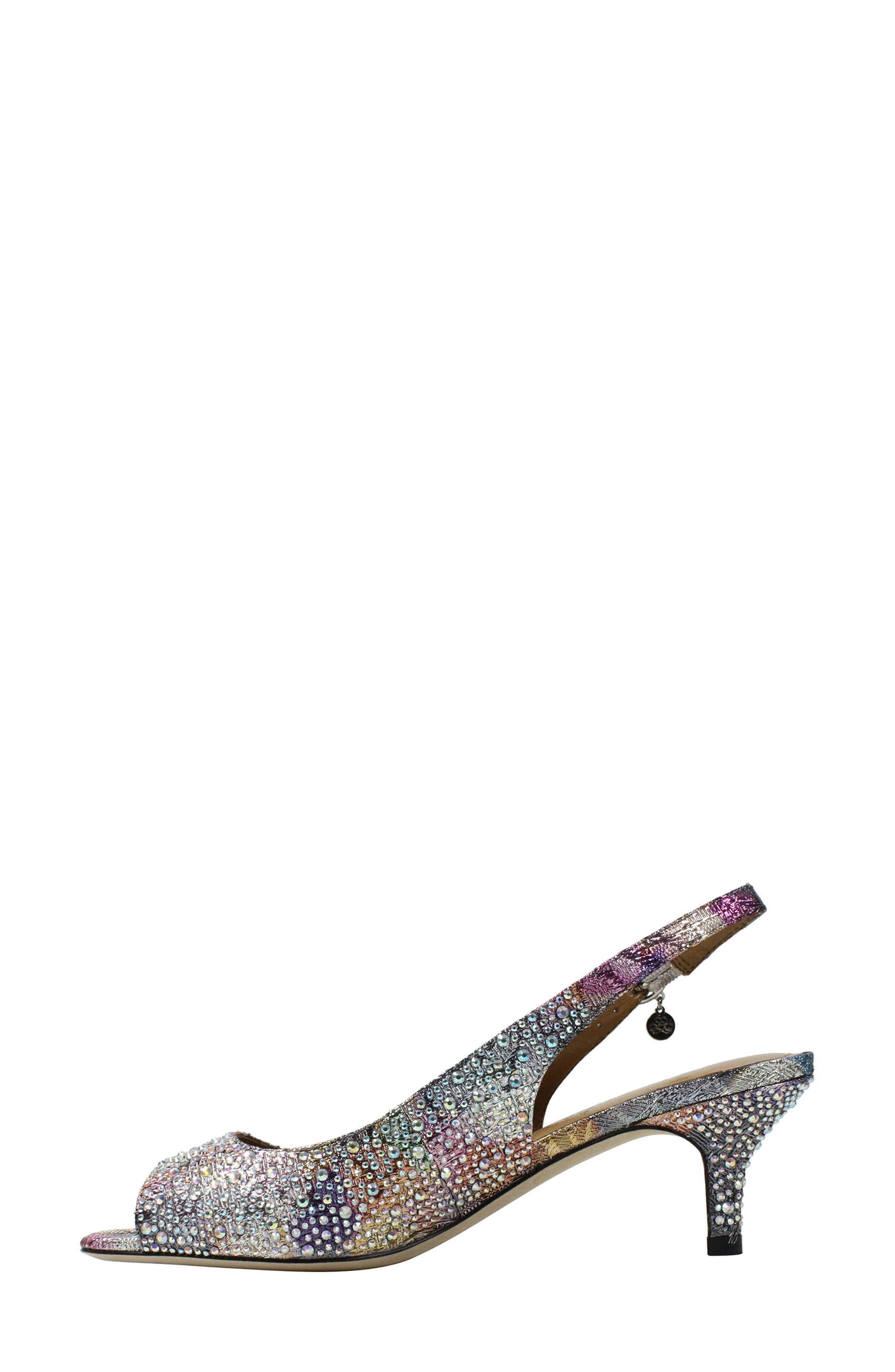 'Impuls' Crystal Embellished Slingback Pump,                             Alternate thumbnail 2, color,                             Silver/ Pastel Fabric