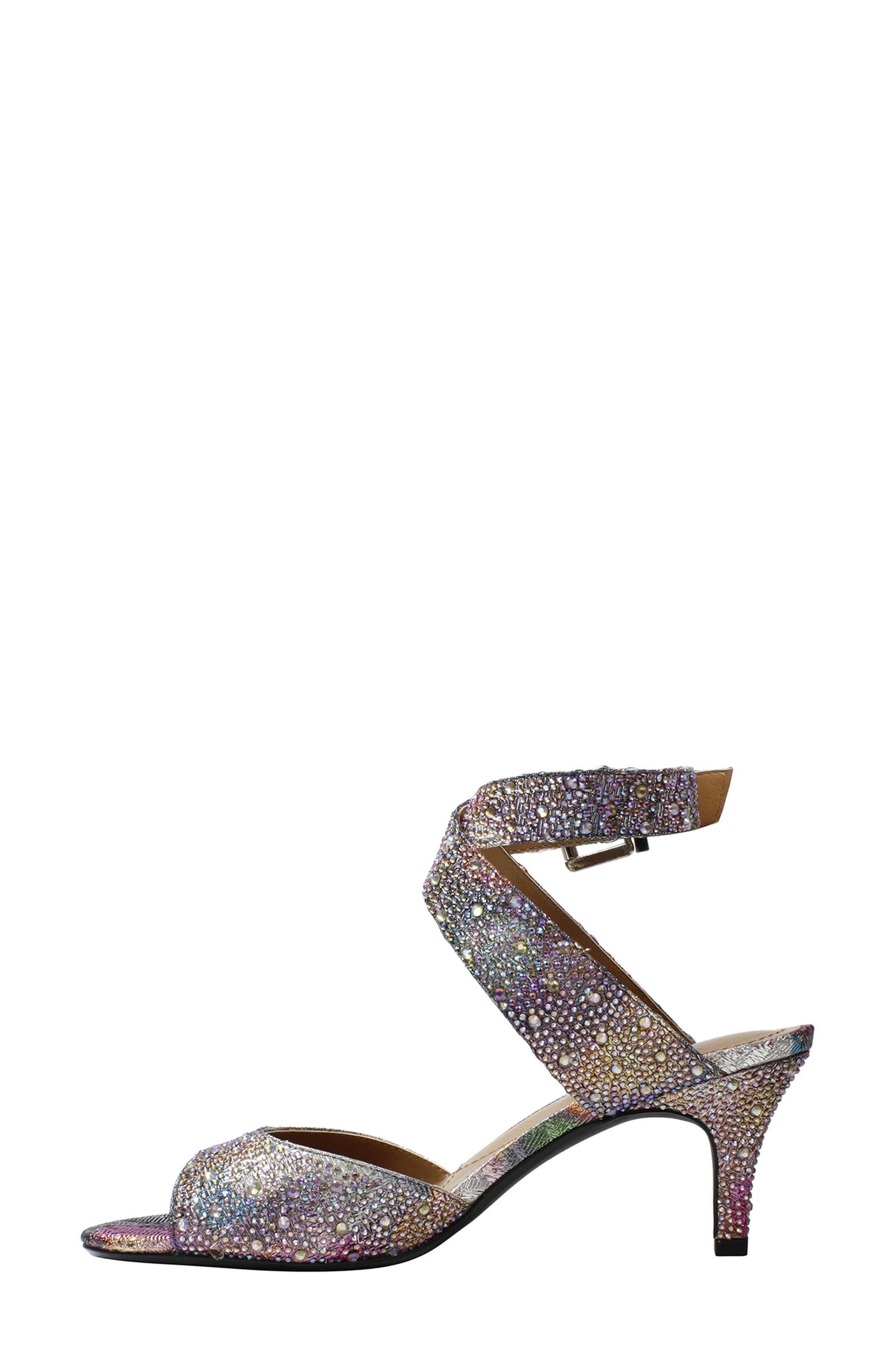 'Soncino' Ankle Strap Sandal,                             Alternate thumbnail 3, color,                             Silver/ Pastel Fabric