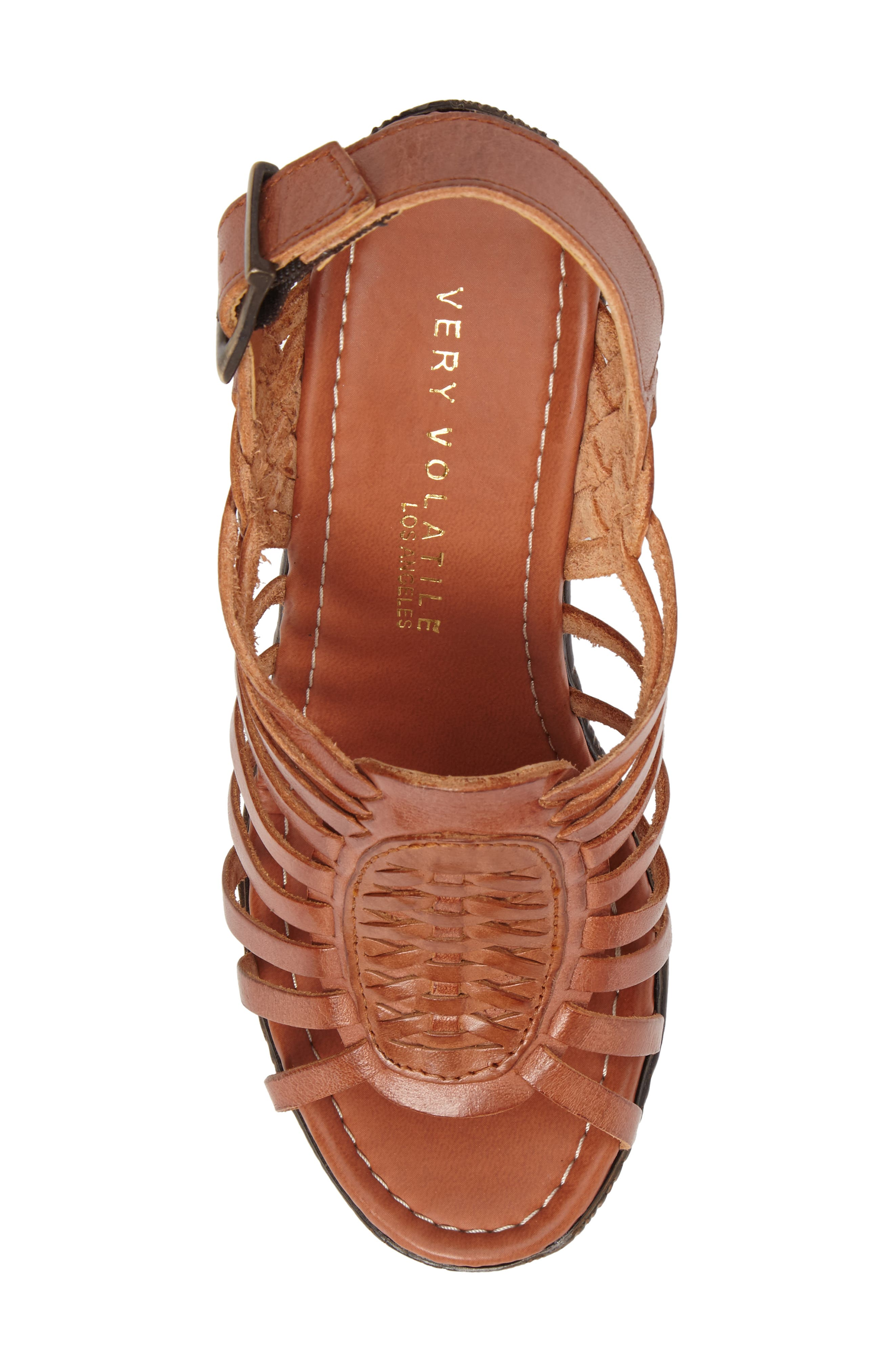 Prolific Wedge Sandal,                             Alternate thumbnail 5, color,                             Tan Leather
