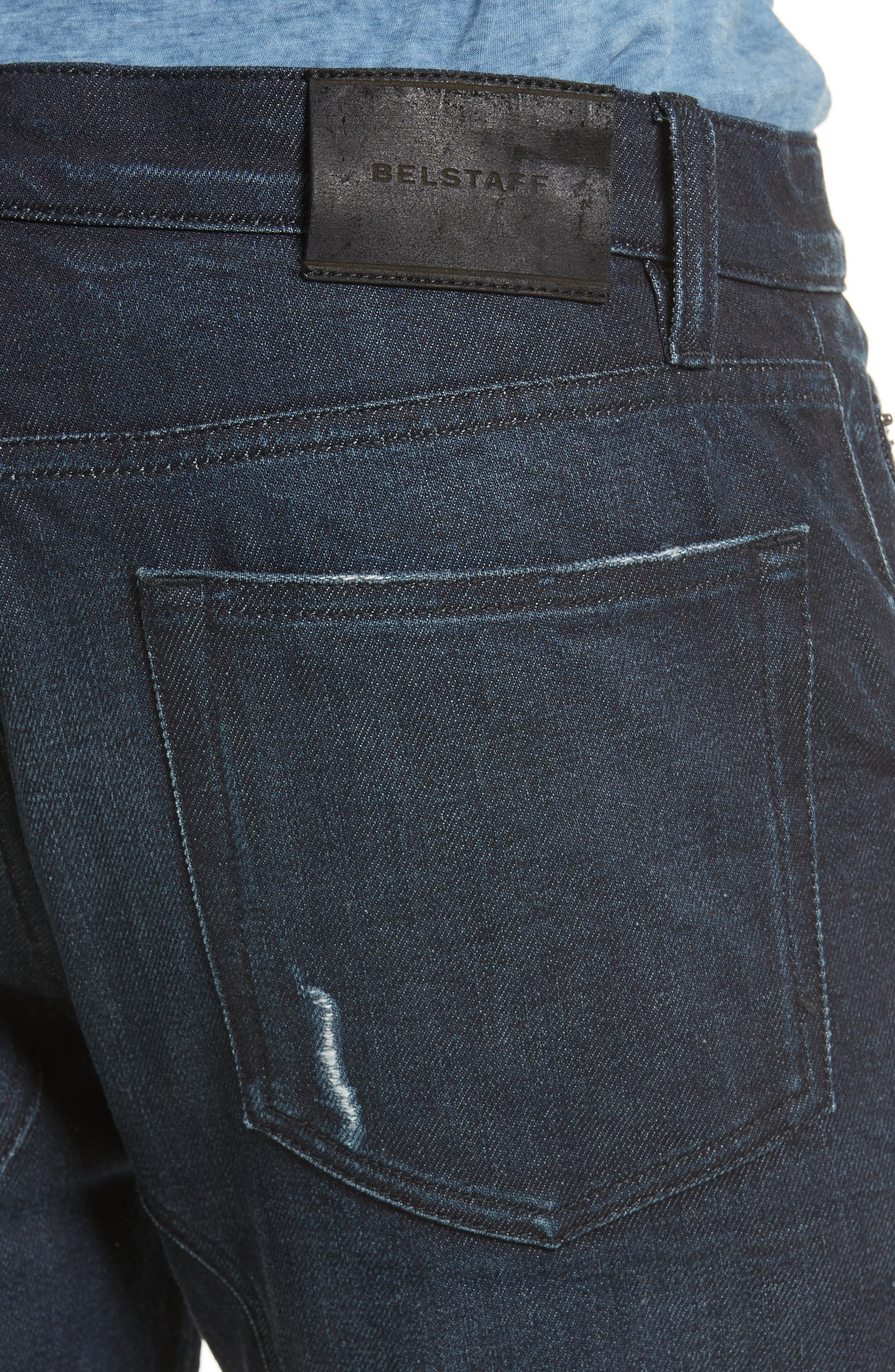 Eastham Washed Moto Jeans,                             Alternate thumbnail 5, color,                             Faded Indigo Blue